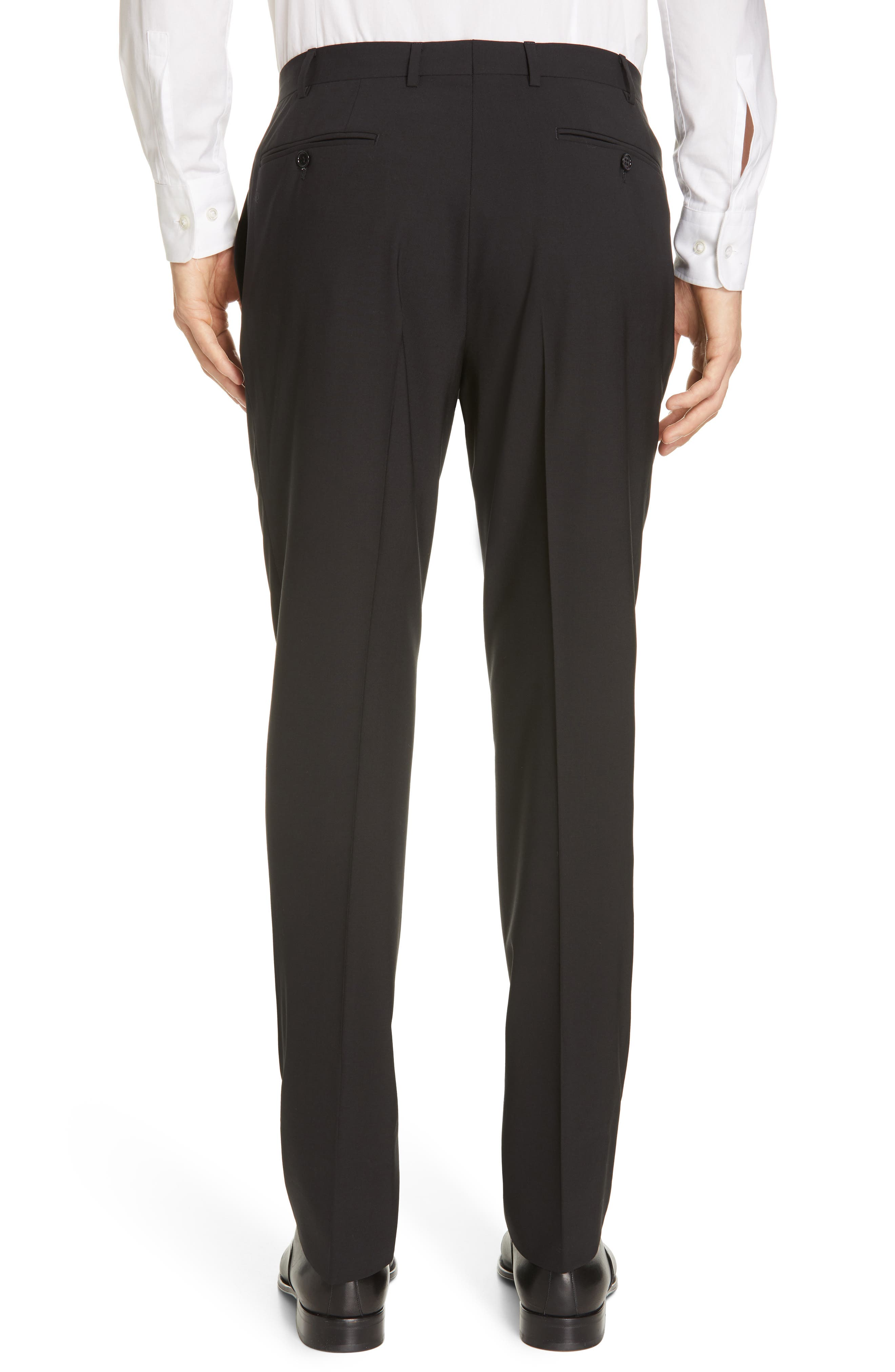 Flat Front Solid Stretch Wool Trousers,                             Alternate thumbnail 2, color,                             BLACK