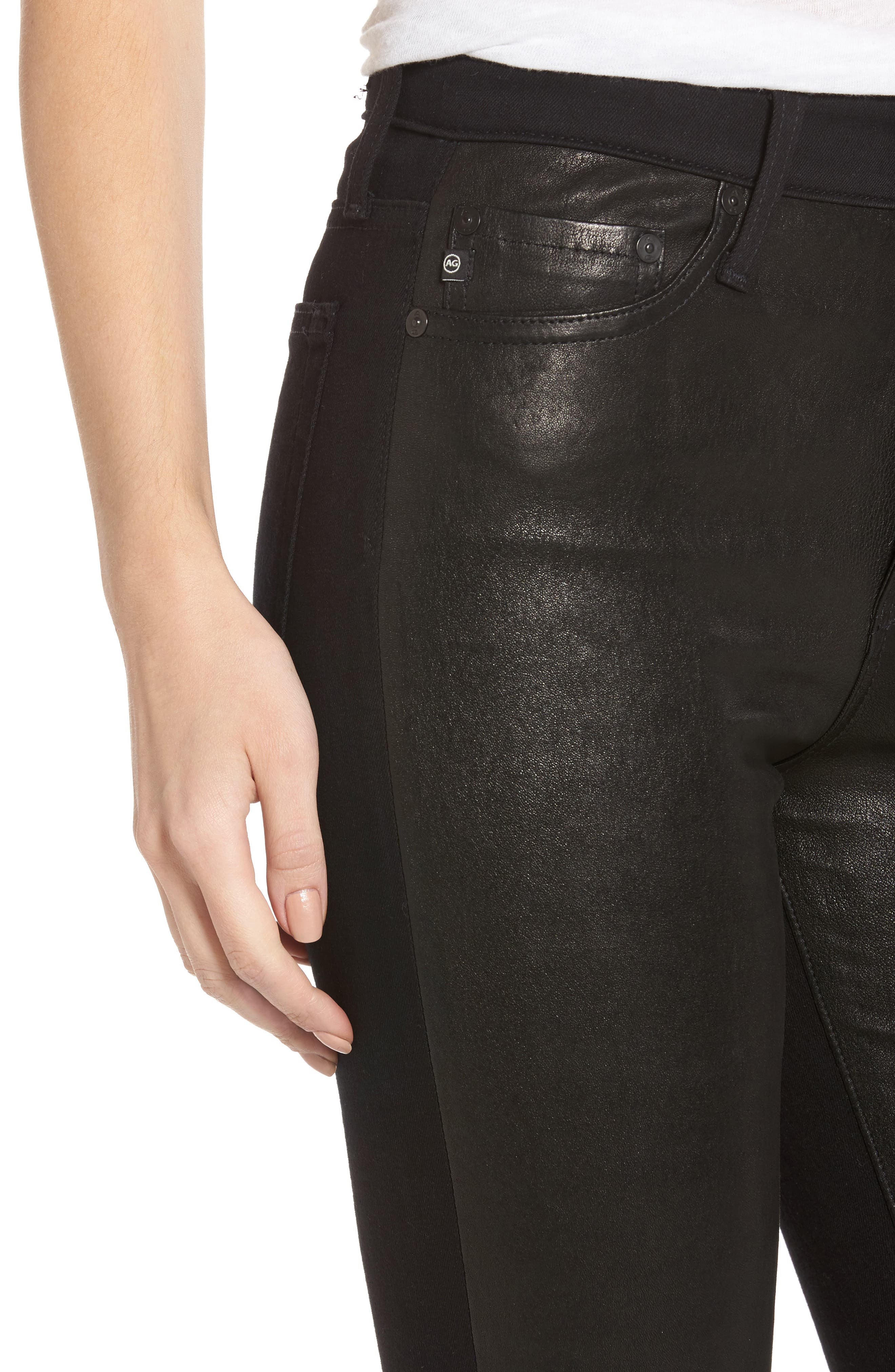The Farrah High Waist Ankle Skinny Faux Leather Pants,                             Alternate thumbnail 12, color,