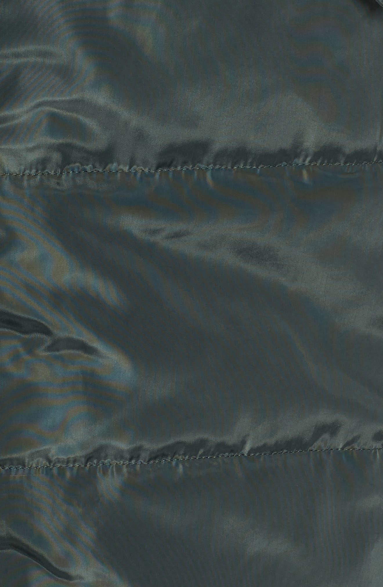 Faux Fur Trim Quilted Parka,                             Alternate thumbnail 7, color,                             GREEN