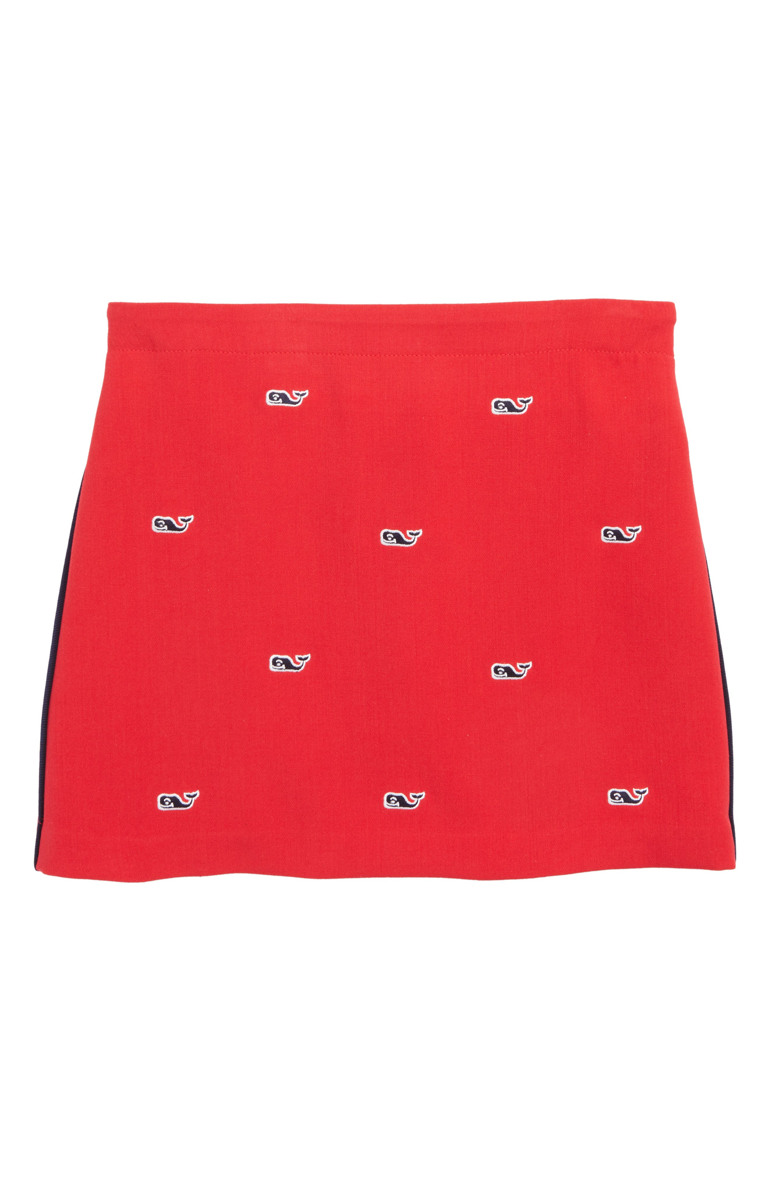 Embroidered Skirt, Main, color, CALYPSO RED