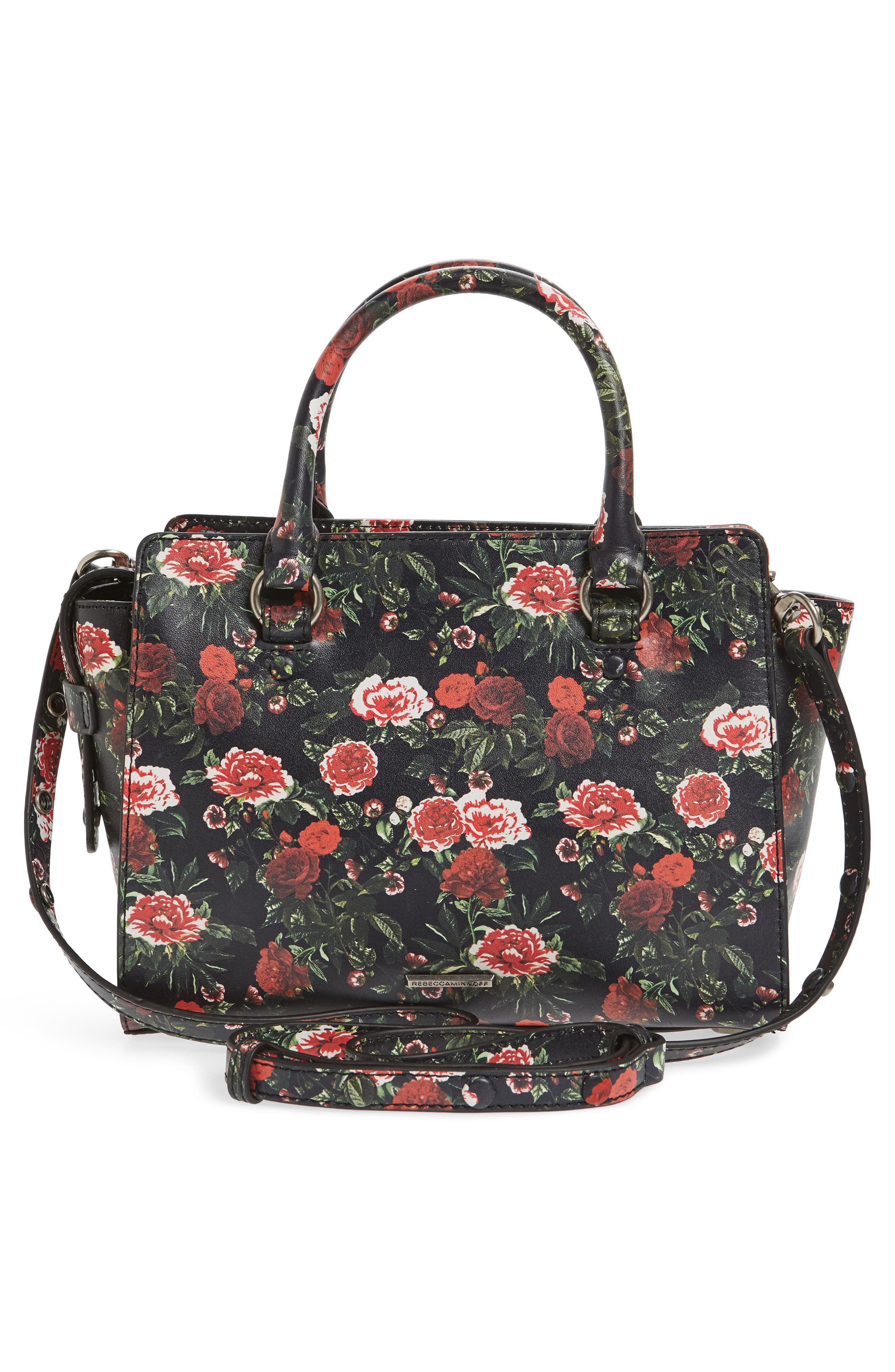 Small Jamie Leather Satchel,                             Alternate thumbnail 3, color,                             ROSE FLORAL