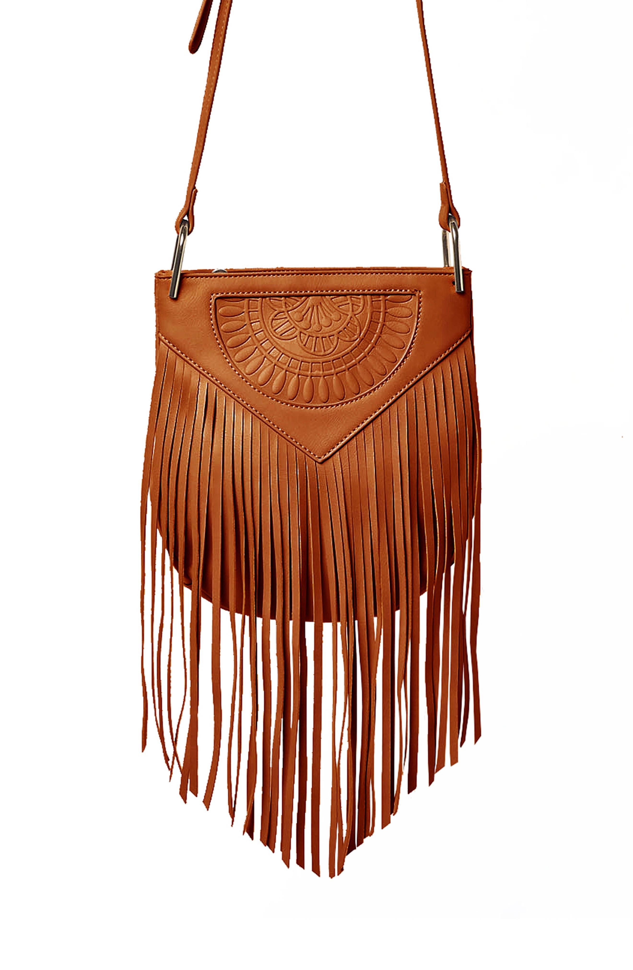 Rose Queen Vegan Leather Crossbody Bag,                             Main thumbnail 1, color,                             TAN