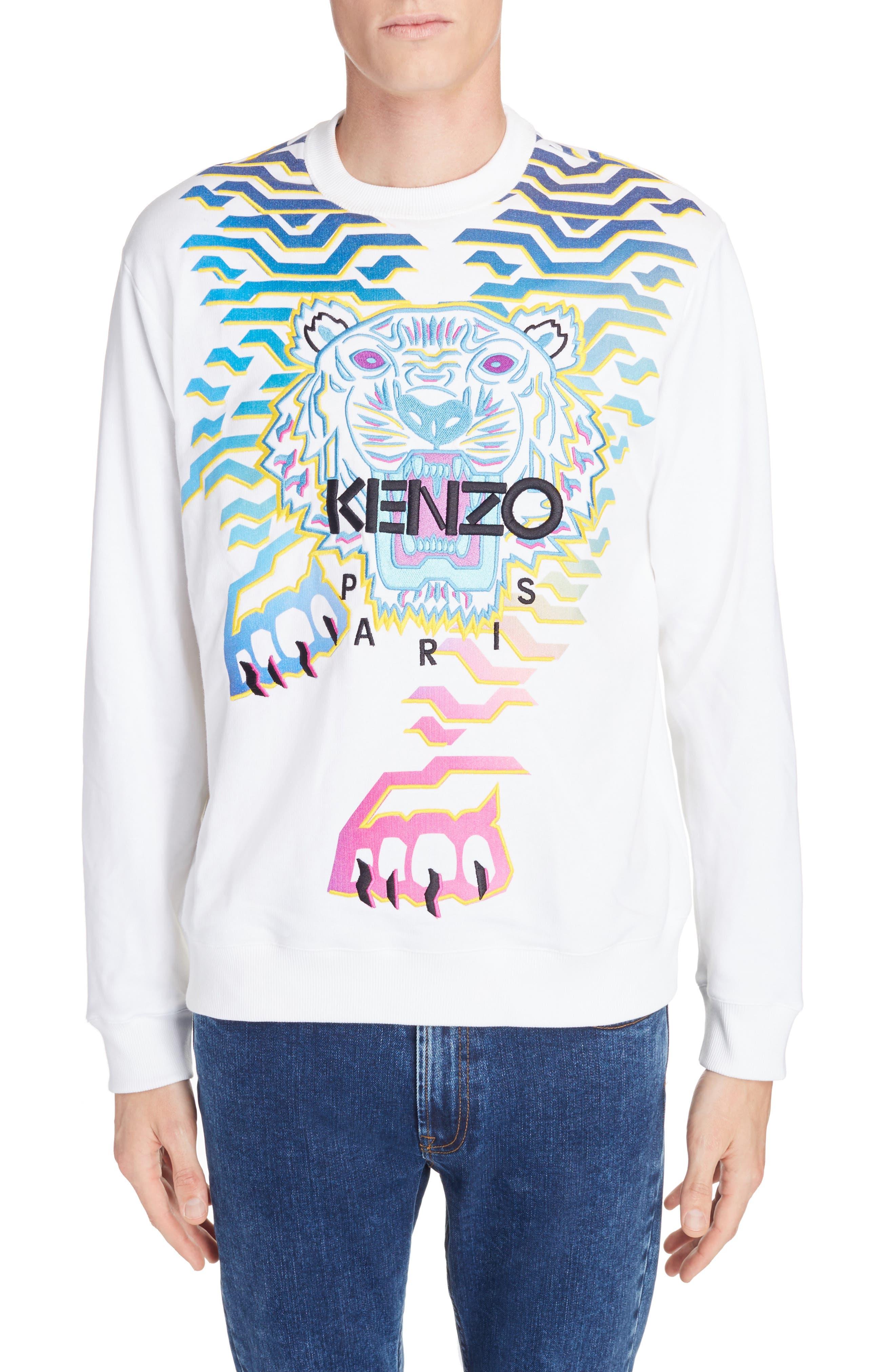 Rainbow Geo Tiger Embroidered Crewneck Sweatshirt,                             Main thumbnail 1, color,                             WHITE