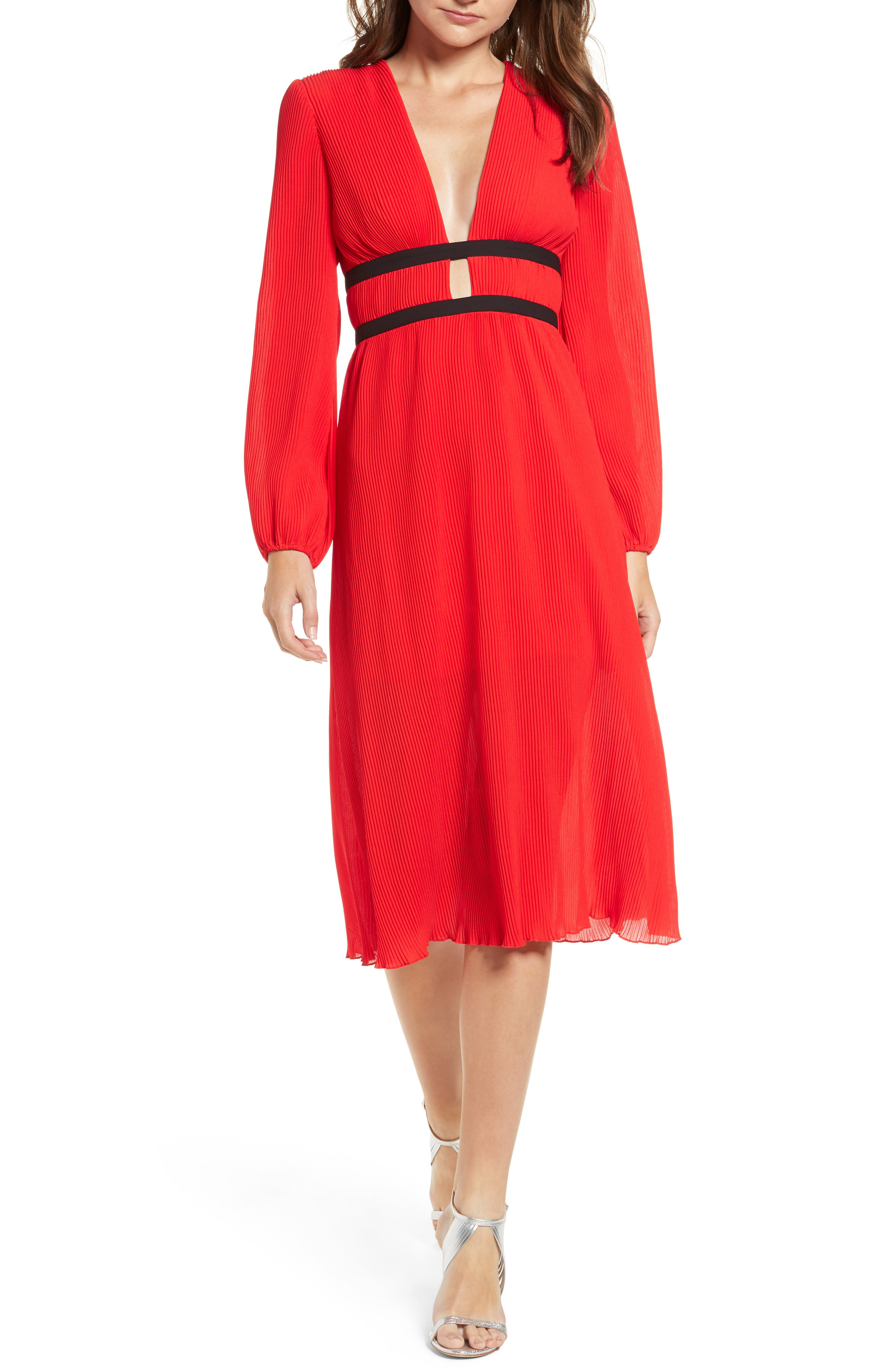 Wayf Patton Plunge Plisse Dress, Red