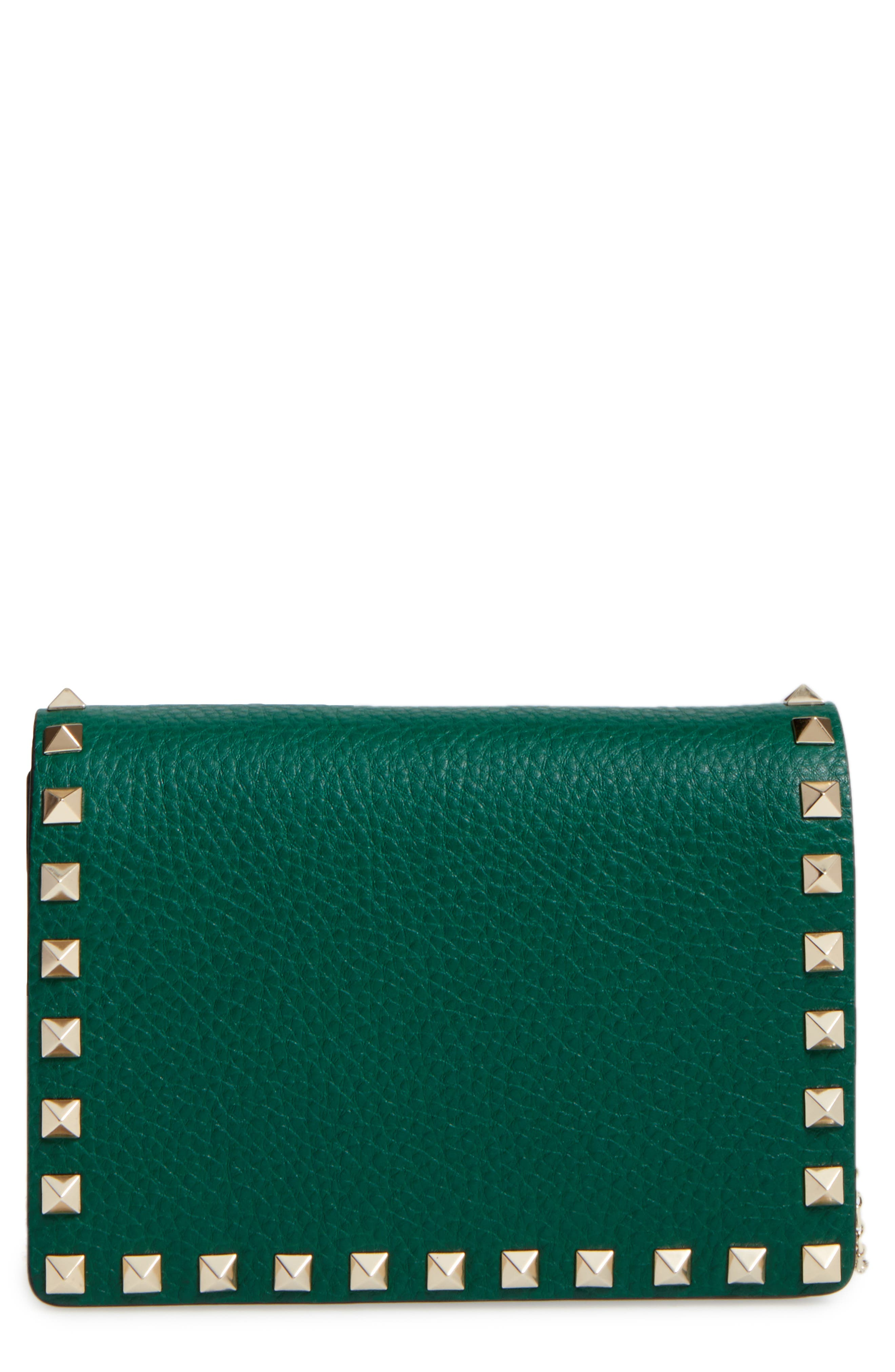 Rockstud Leather Wallet on a Chain,                             Main thumbnail 3, color,