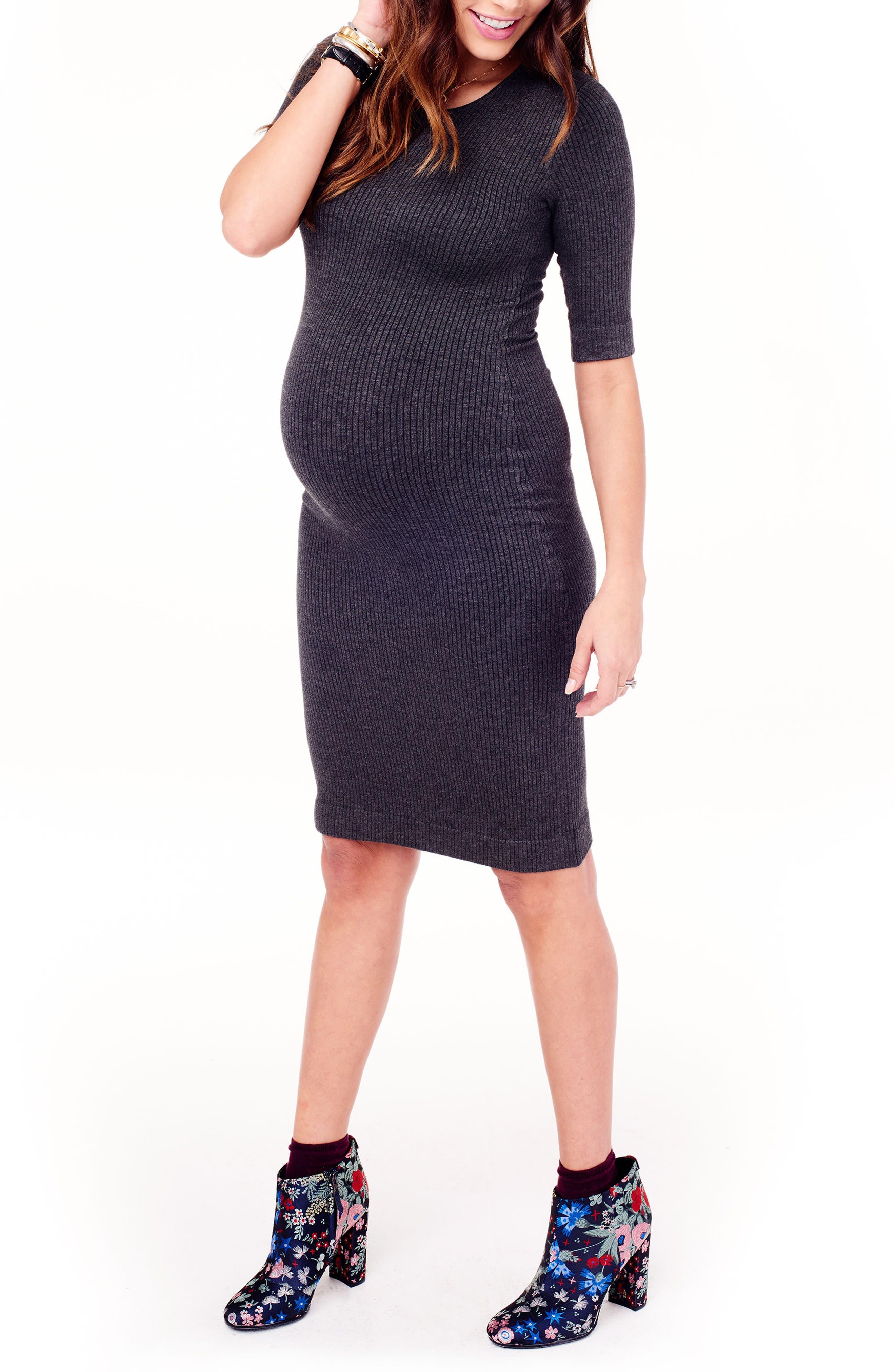 Ribbed Maternity Sweater Dress,                             Alternate thumbnail 3, color,                             MEDIUM GREY HEATHER