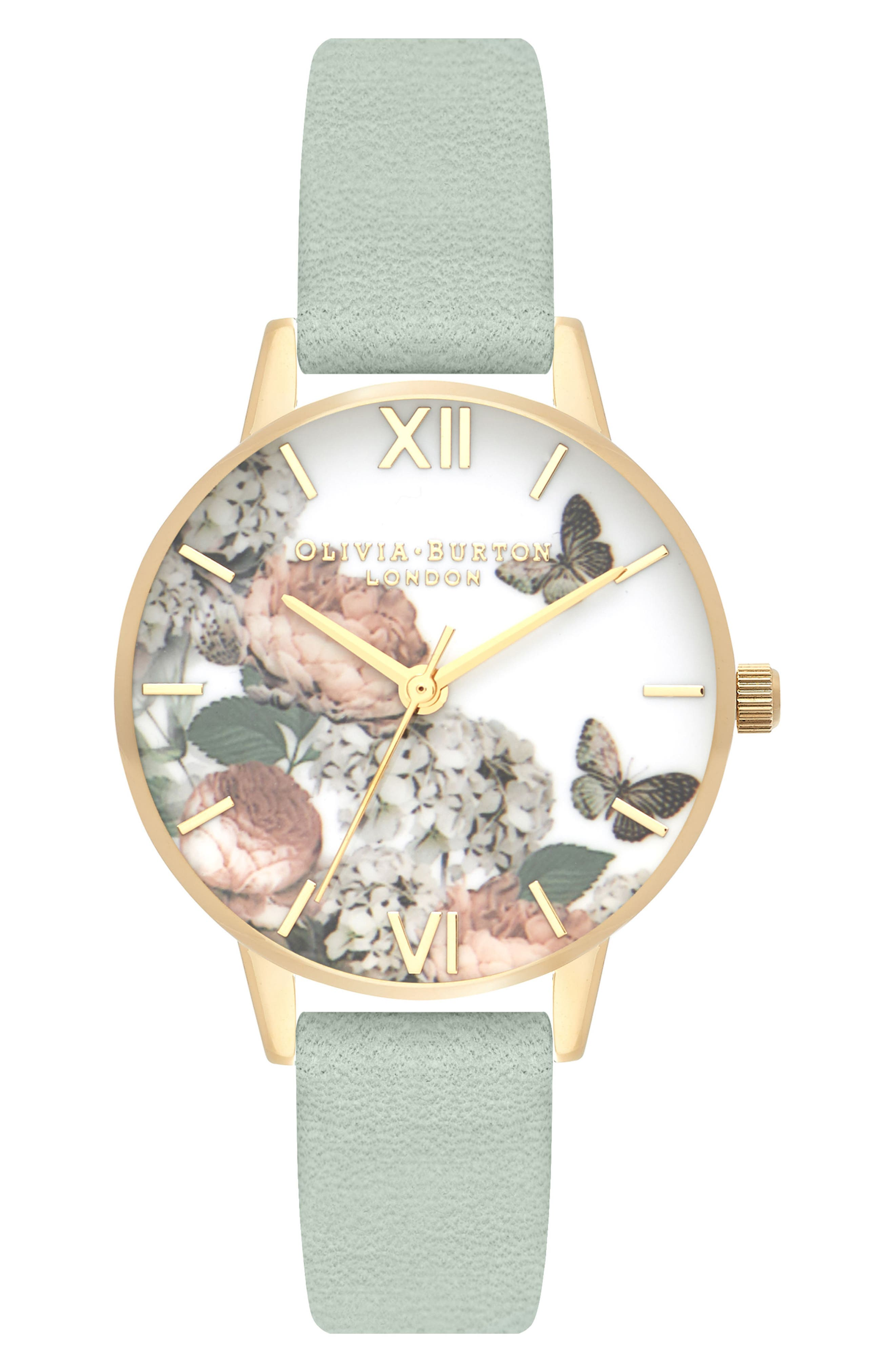 Signature Floral Leather Strap Watch, 30mm,                         Main,                         color, SAGE/ FLORAL/ GOLD