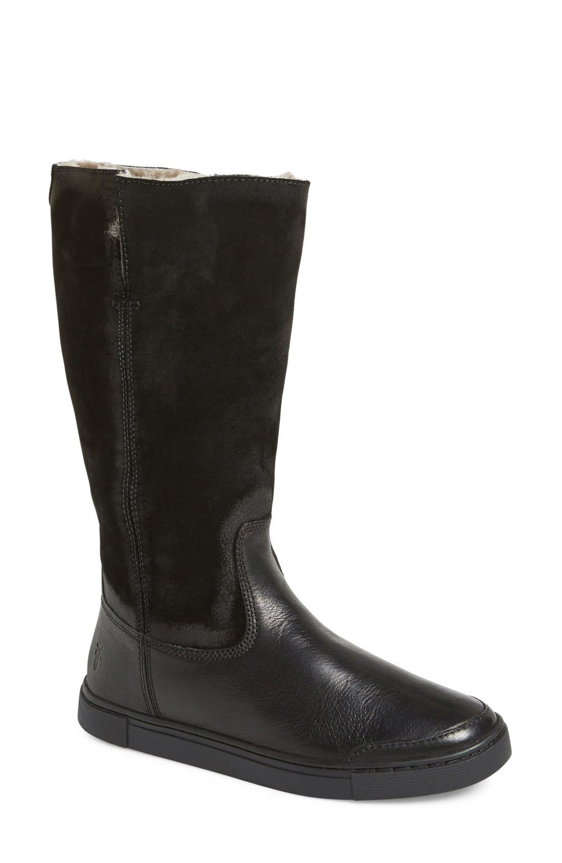 'Gemma' Tall Genuine Shearling Lined Boot, Main, color, 001