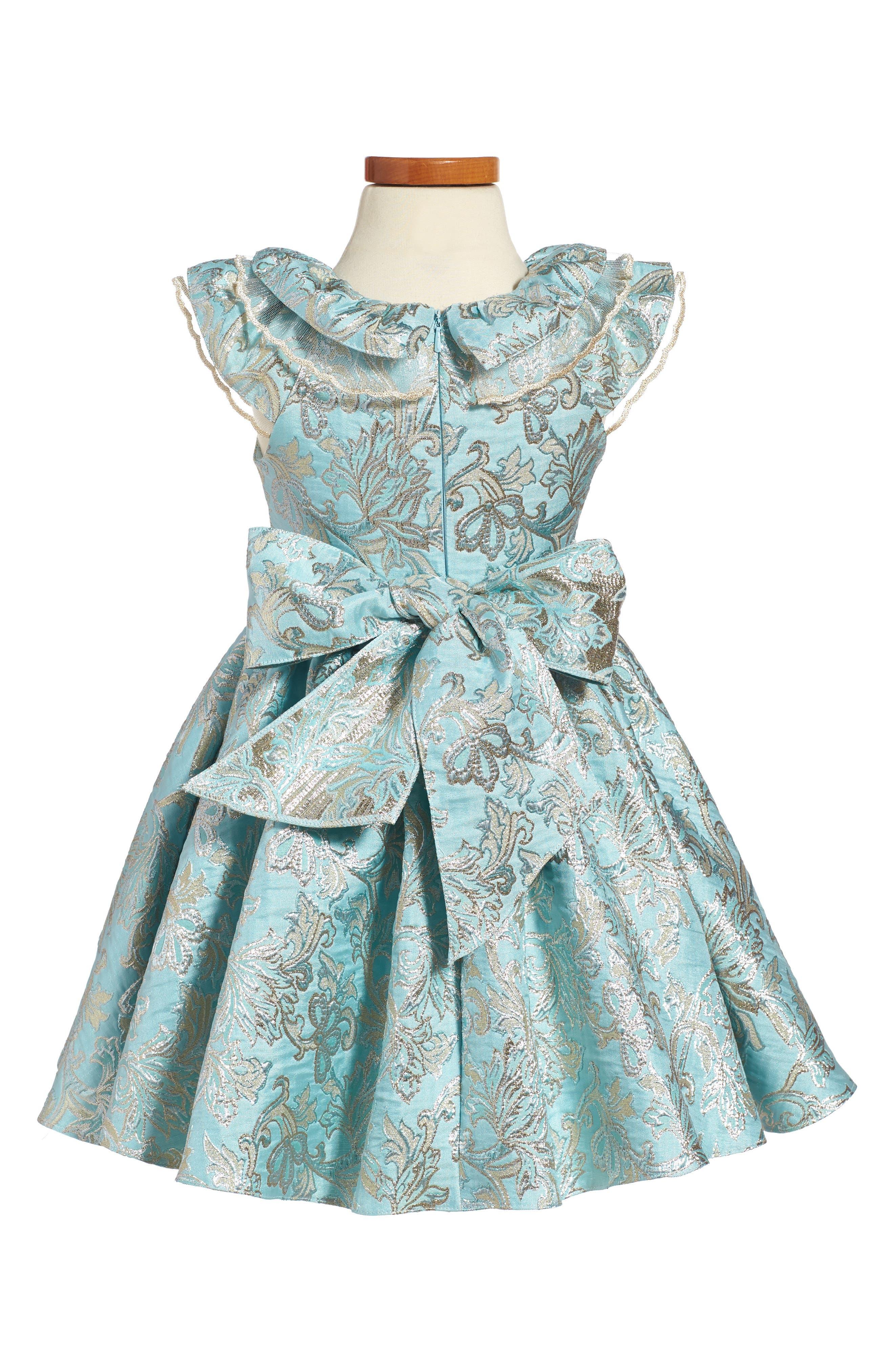 David Chales Ruffle Neck Brocade Dress,                             Alternate thumbnail 3, color,                             440