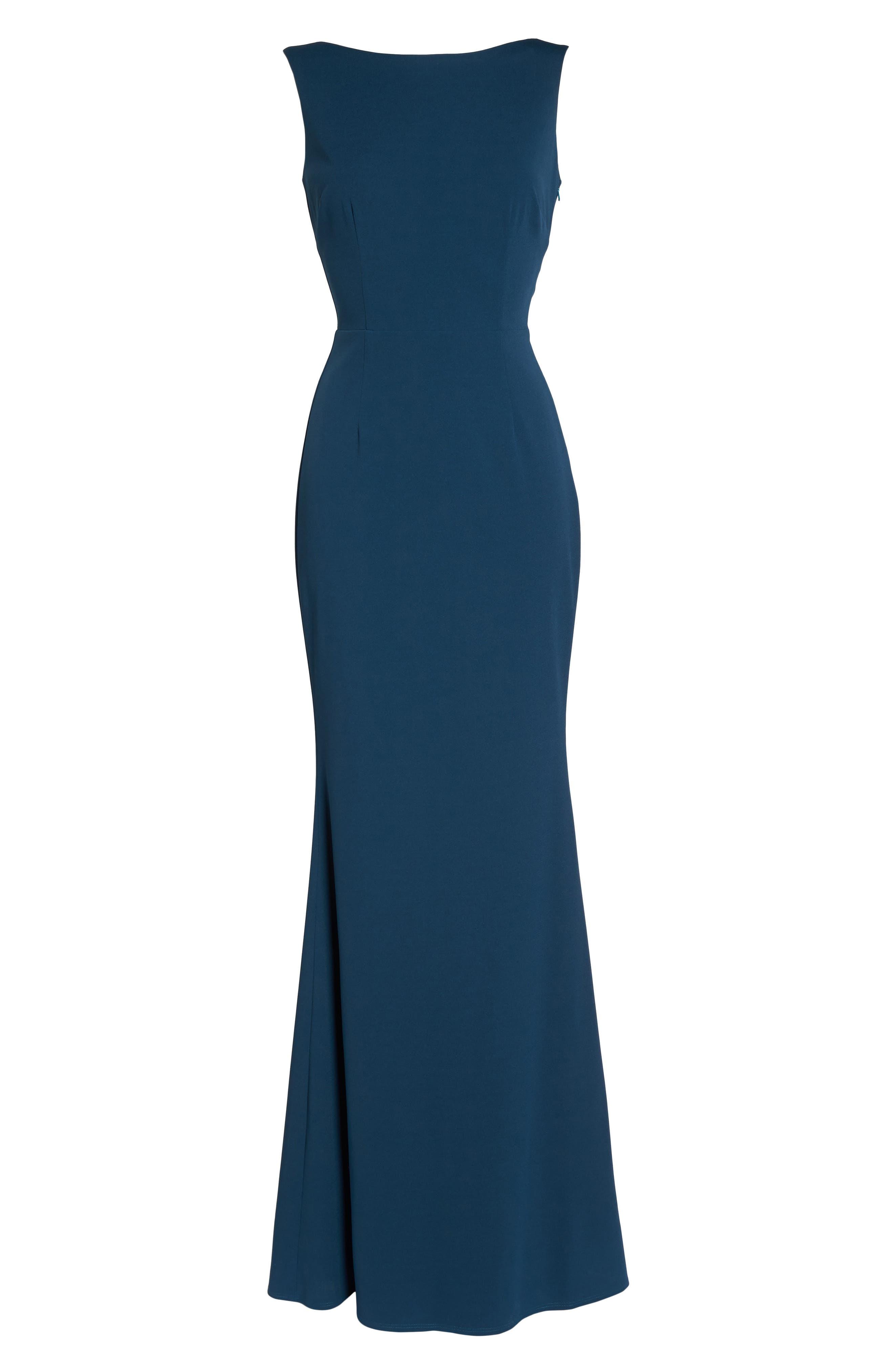 Vionnet Drape Back Crepe Gown,                             Alternate thumbnail 6, color,                             TEAL
