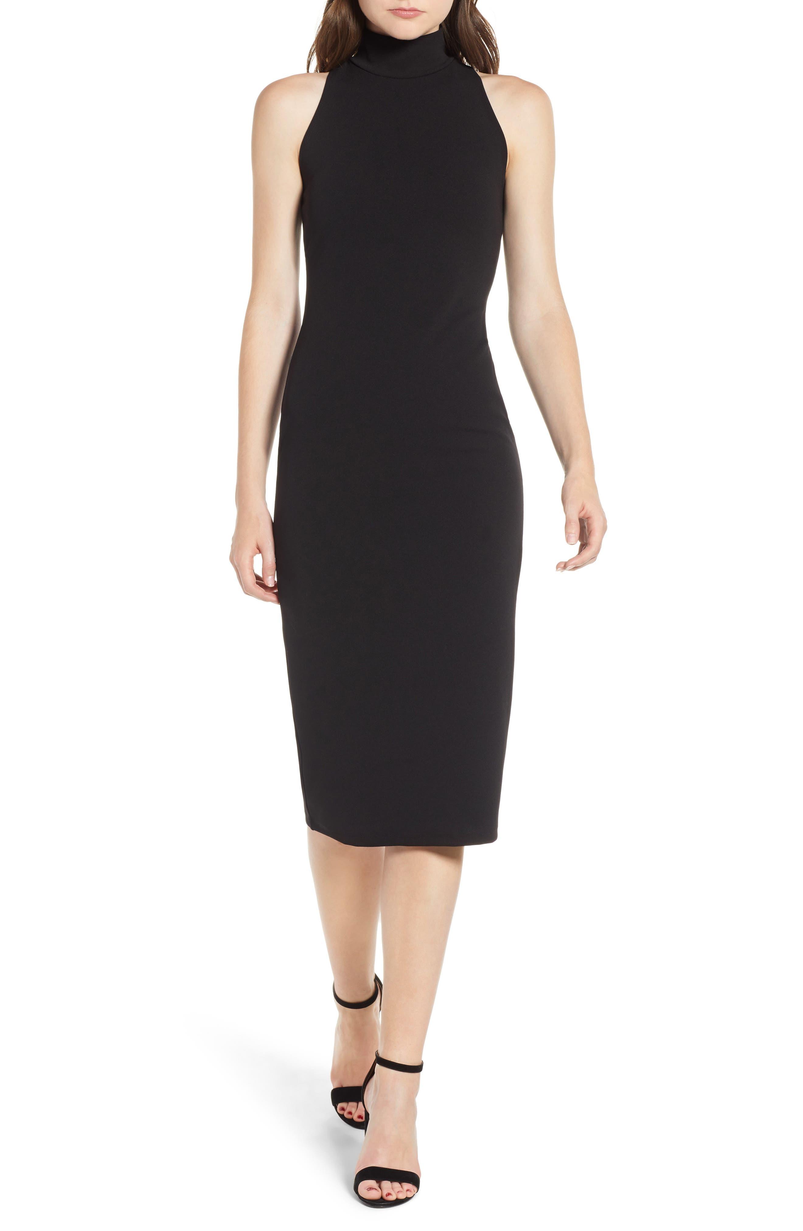Leith Mock Neck Body-Con Dress, Black