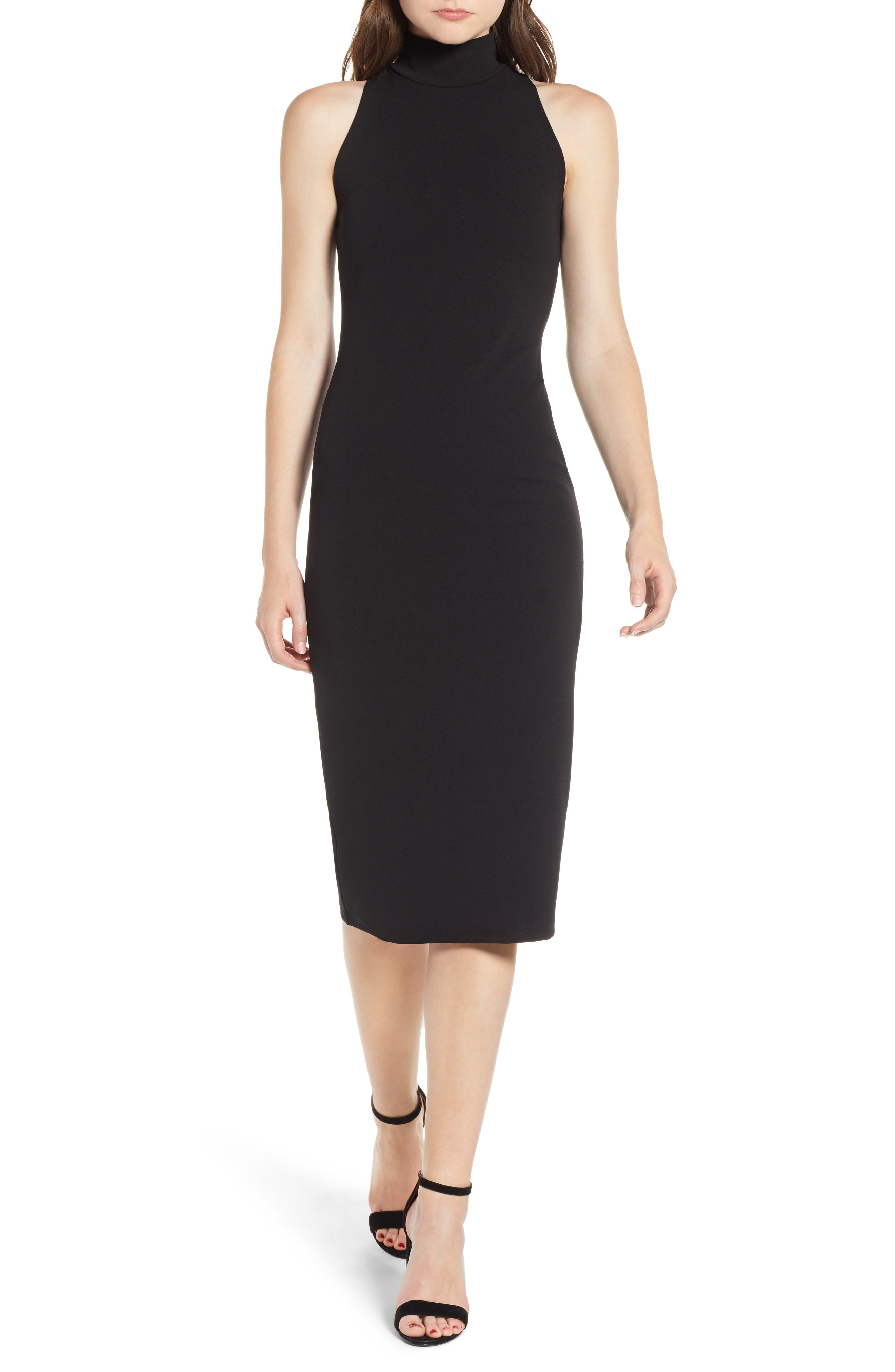 Mock Neck Body-Con Dress,                         Main,                         color, BLACK