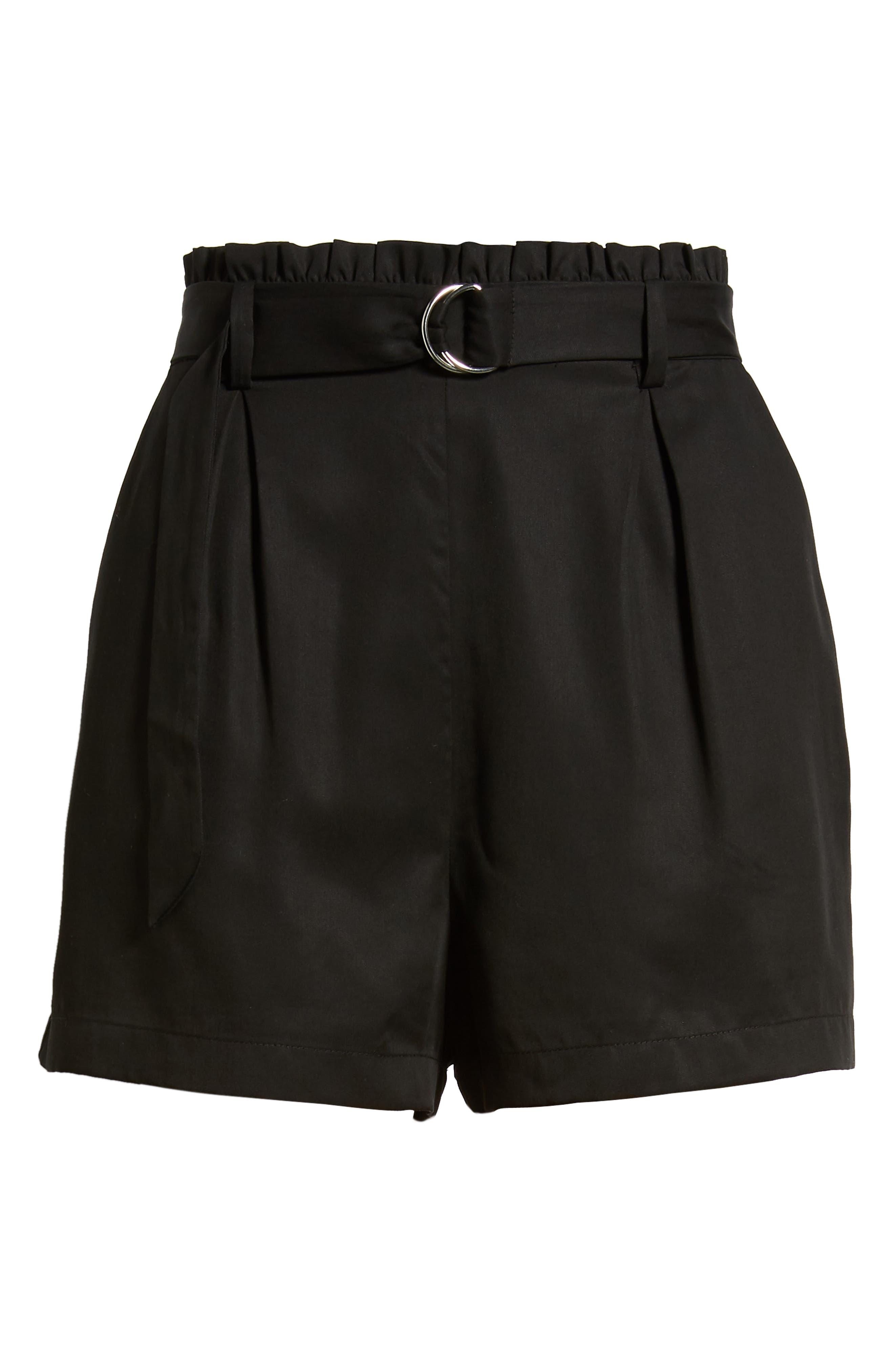 D-Ring Belted Shorts,                             Alternate thumbnail 6, color,                             BLACK