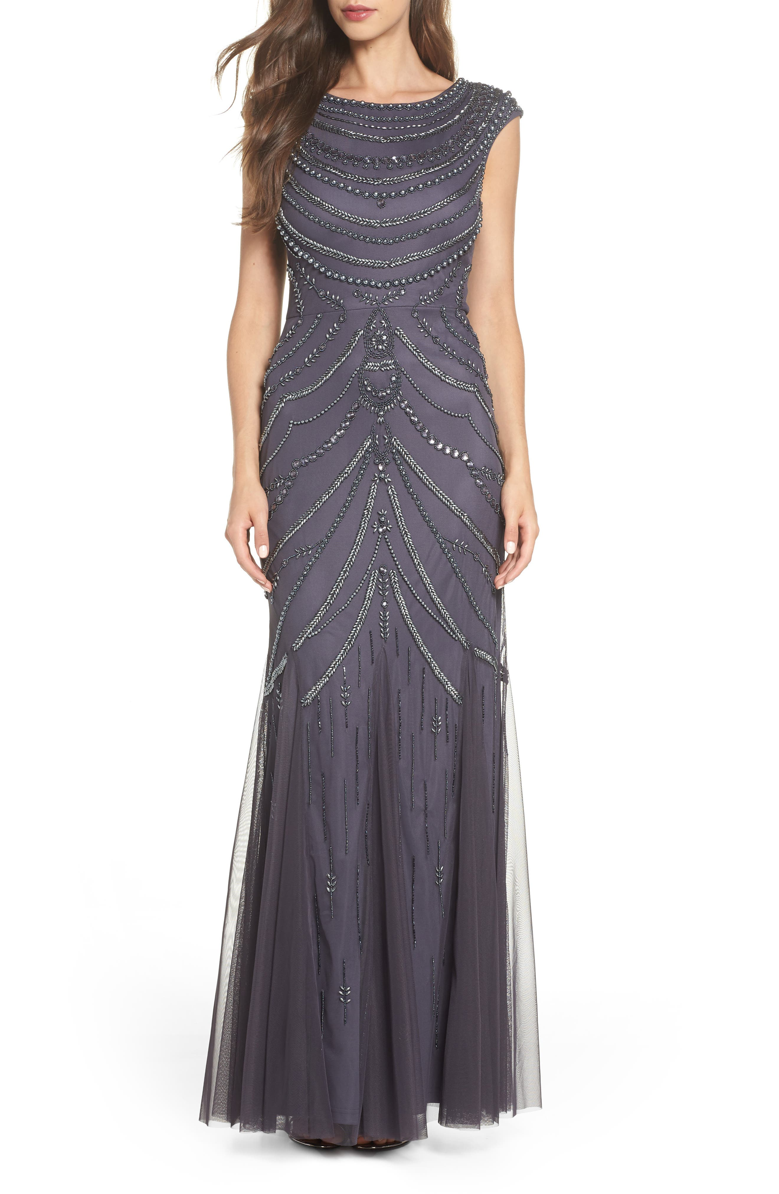 1920s Evening Dresses & Formal Gowns Womens Adrianna Papell Beaded Trumpet Gown $359.00 AT vintagedancer.com