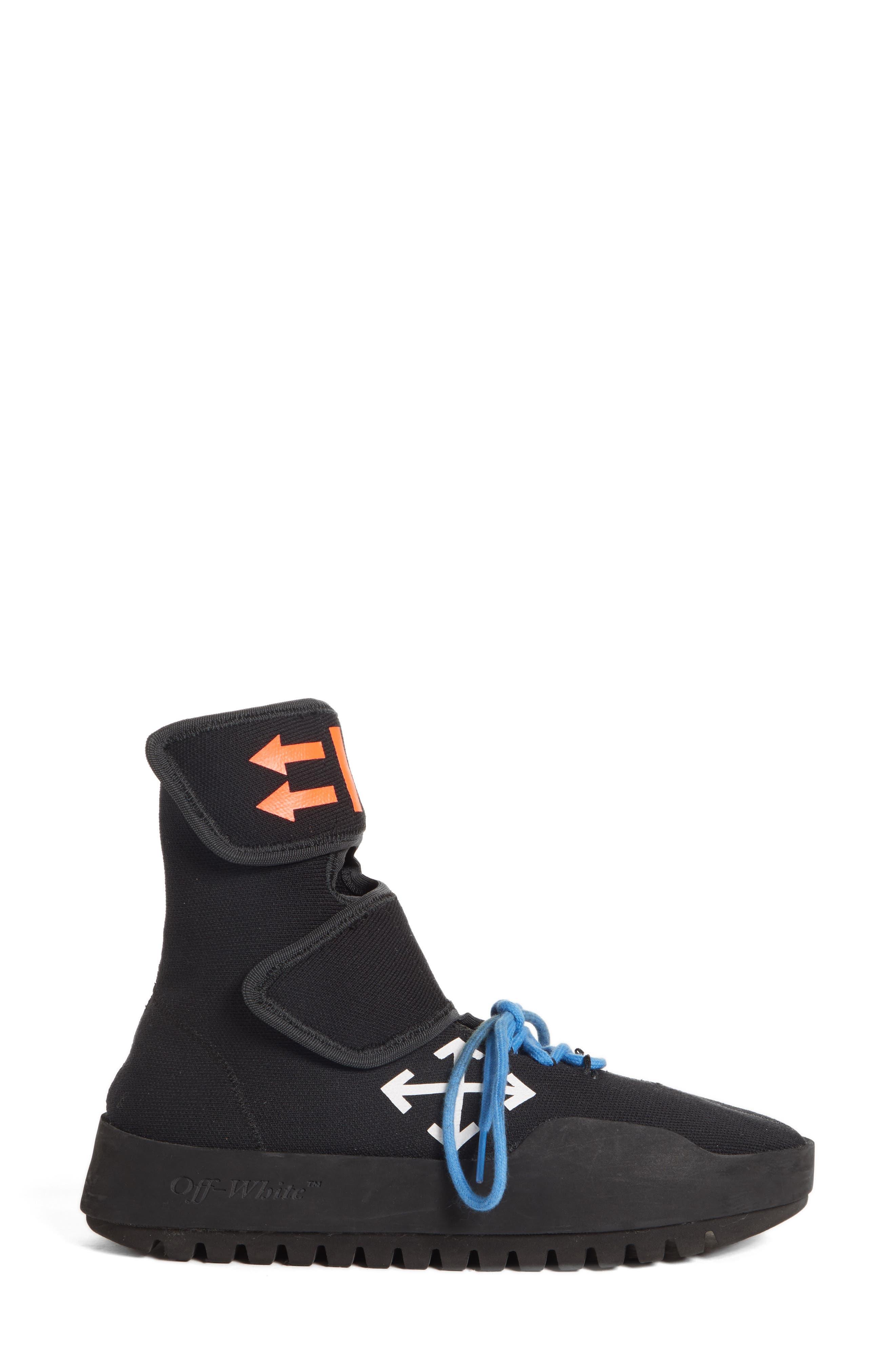 Moto Wrap Sneaker,                             Alternate thumbnail 3, color,                             BLACK WHITE
