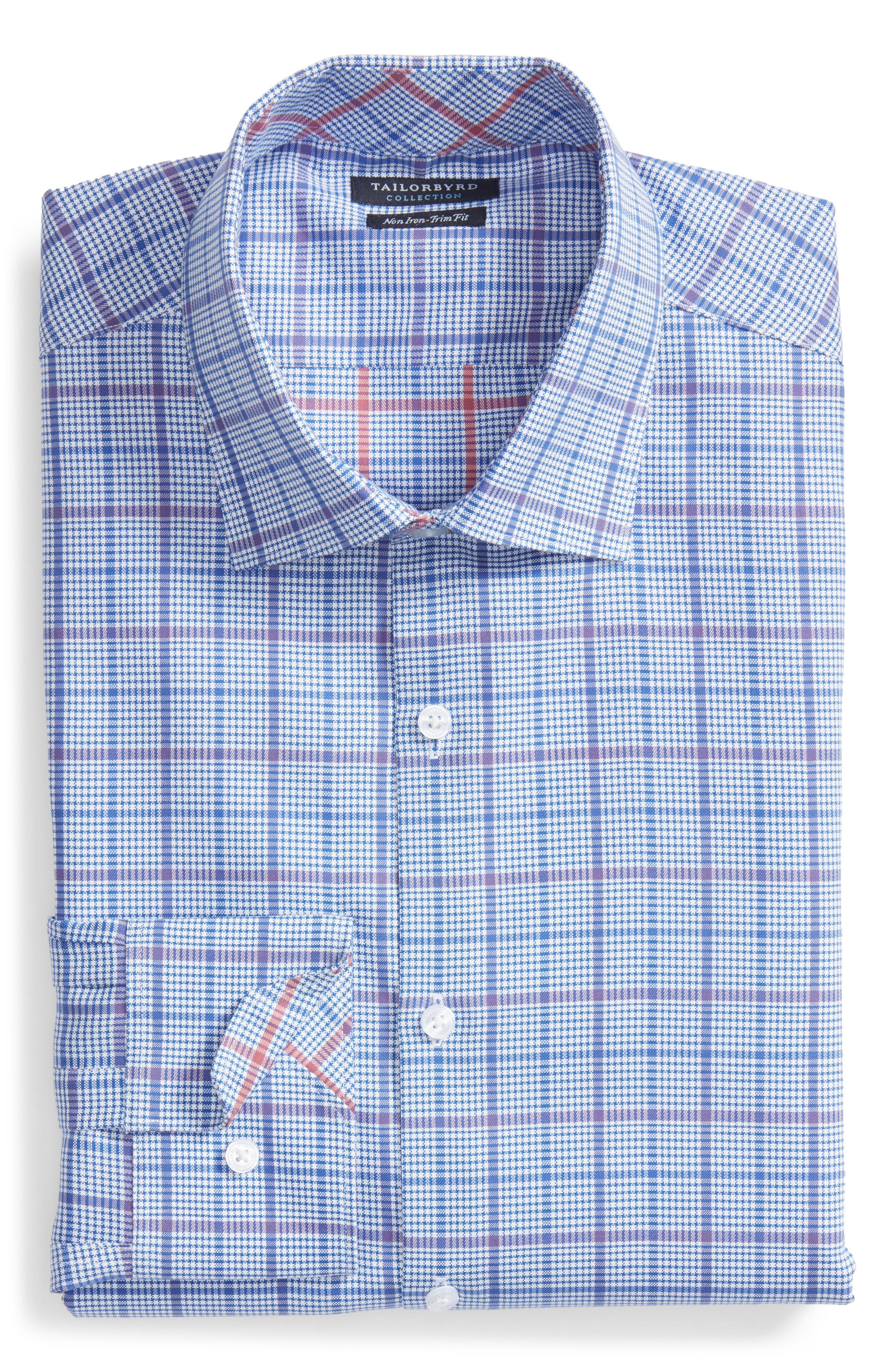 Kaden Trim Fit Plaid Dress Shirt,                             Alternate thumbnail 5, color,                             430