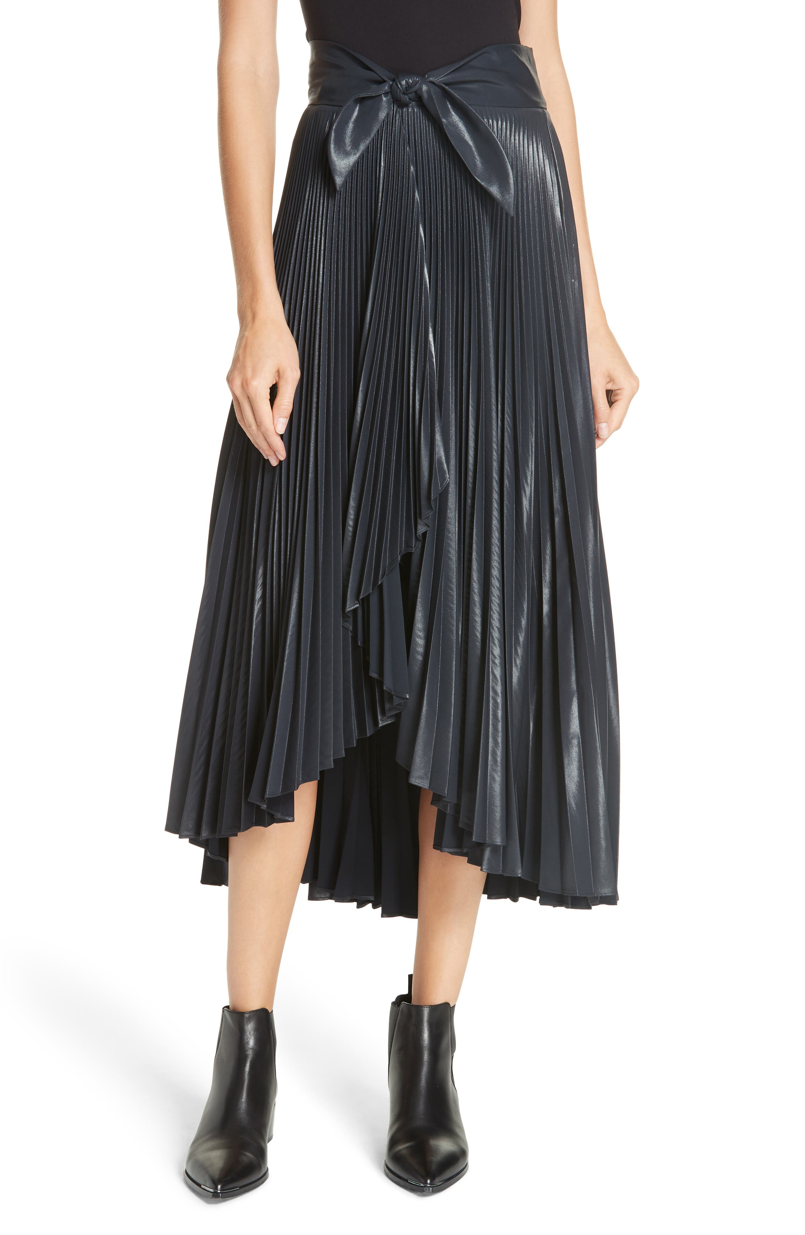 Eleanor Pleated Wrap Skirt - Navy Size 2 in Black
