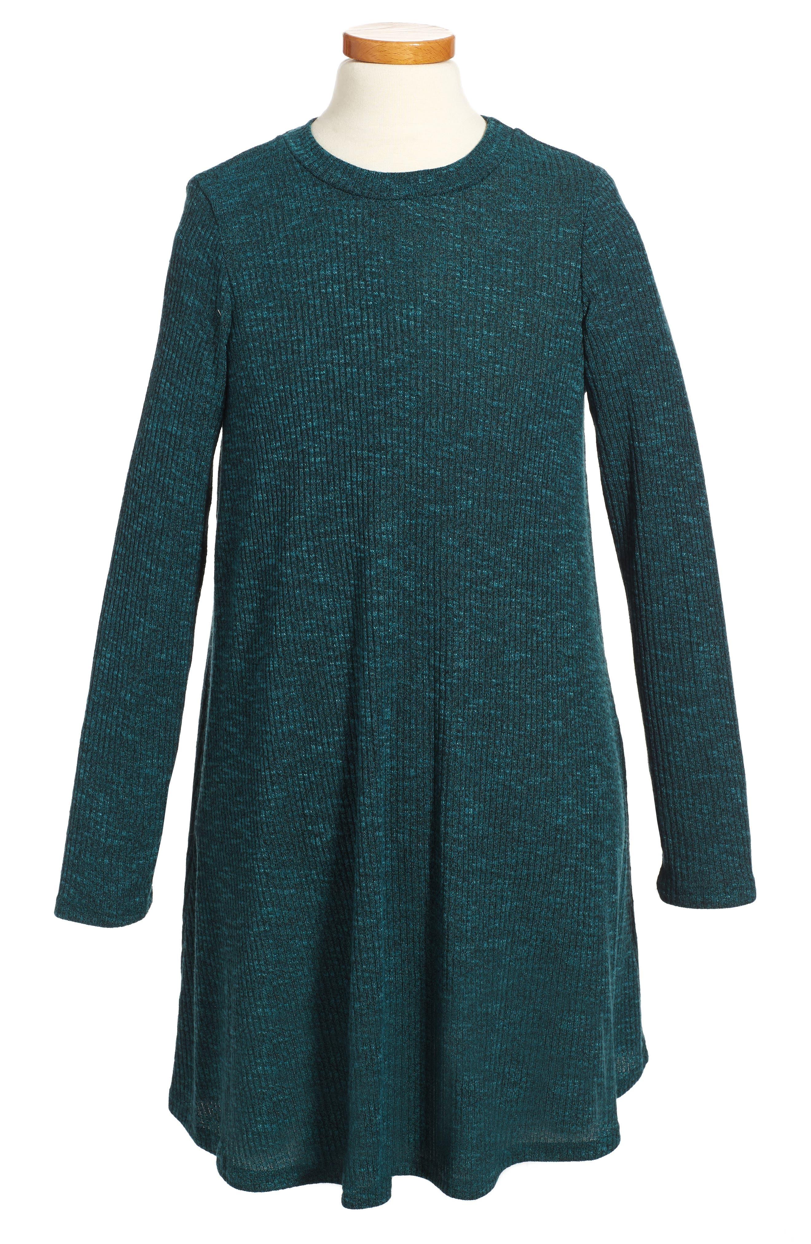 Rib Knit Sweater Dress,                         Main,                         color, 359