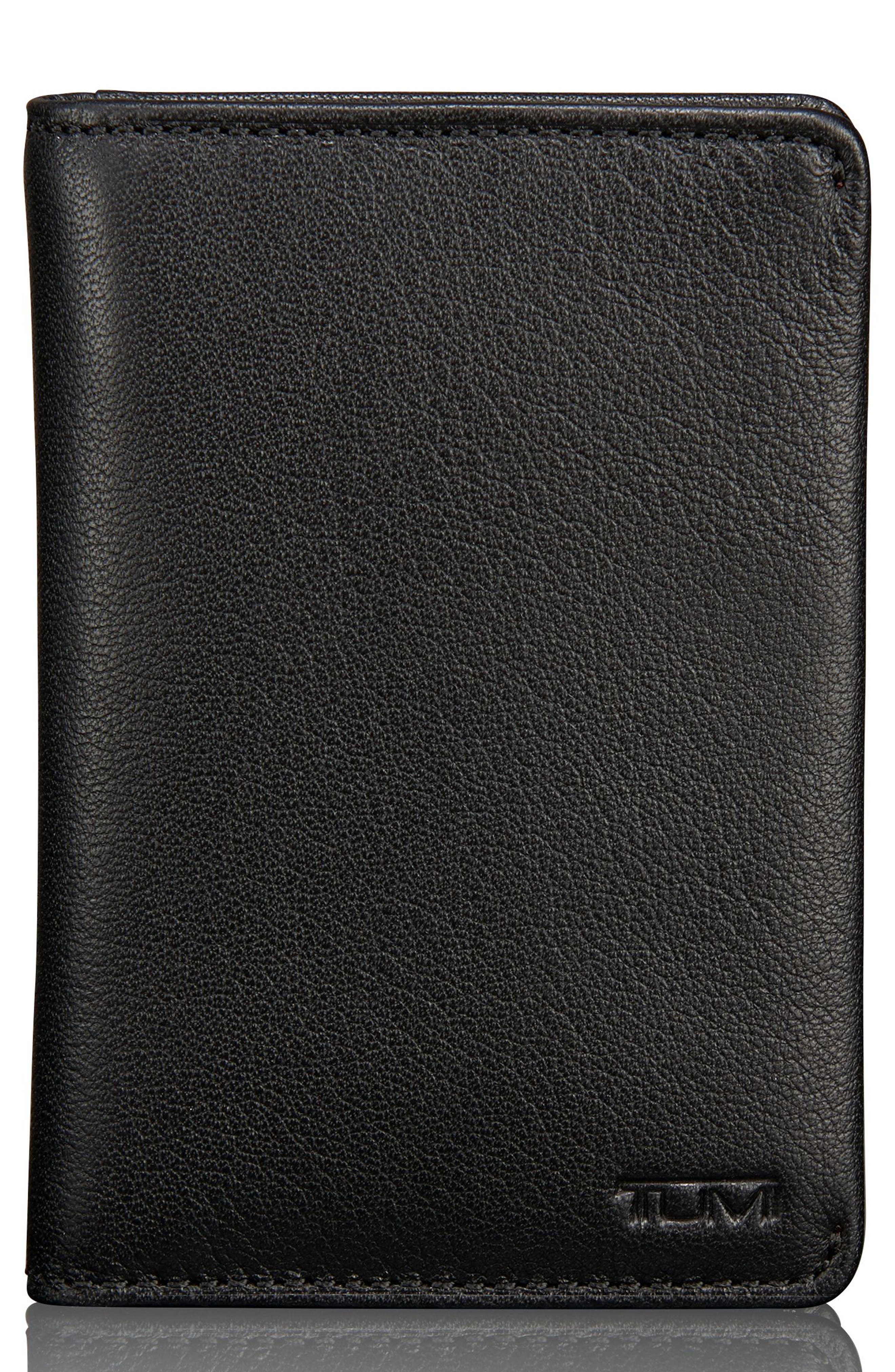 TUMI Leather Card Case, Main, color, 011