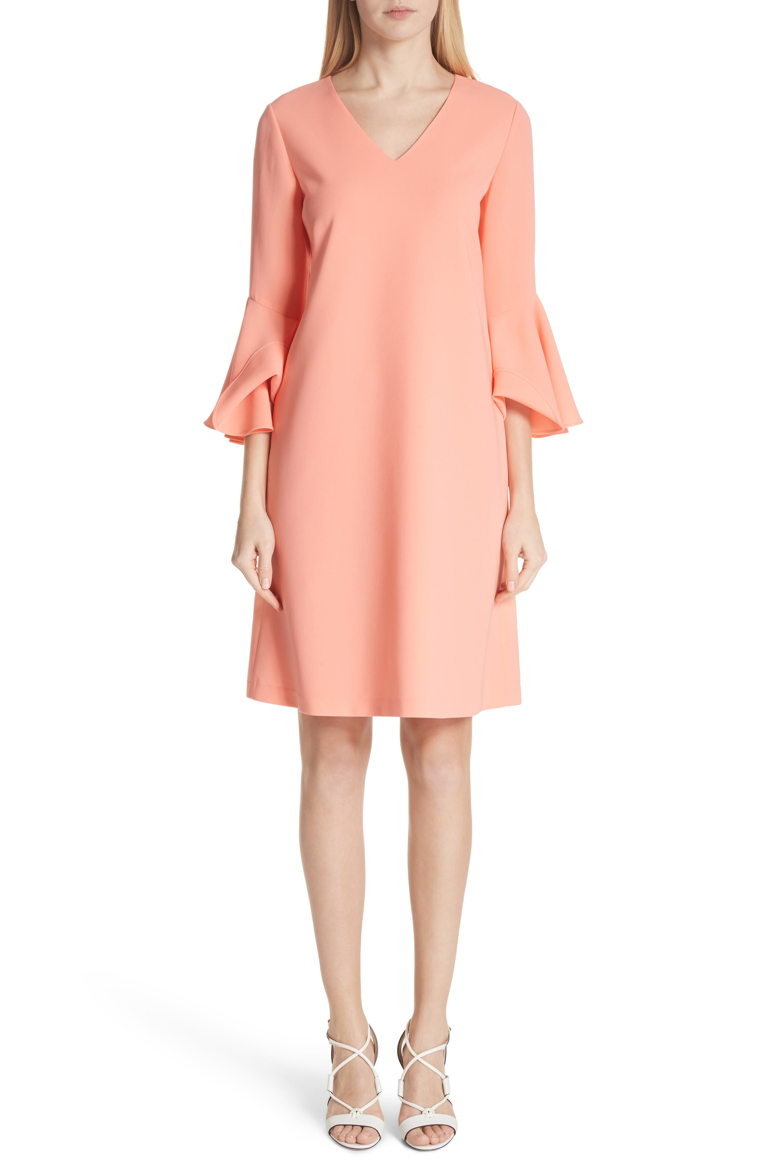 Holly Bell Sleeve Dress,                         Main,                         color, CORAL REEF