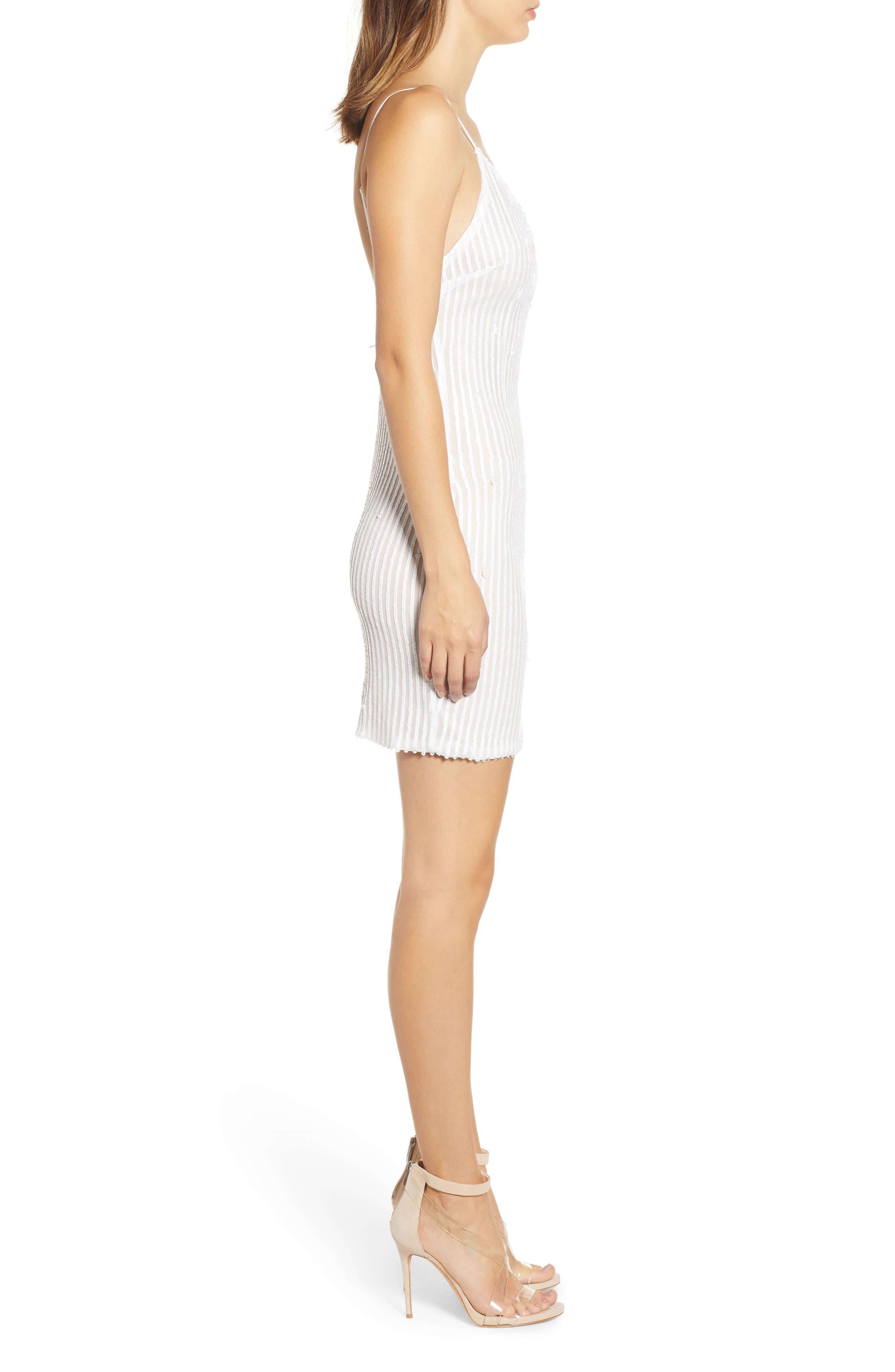 Tiffany Sequin Stripe Sheath Dress,                             Alternate thumbnail 3, color,                             WHITE