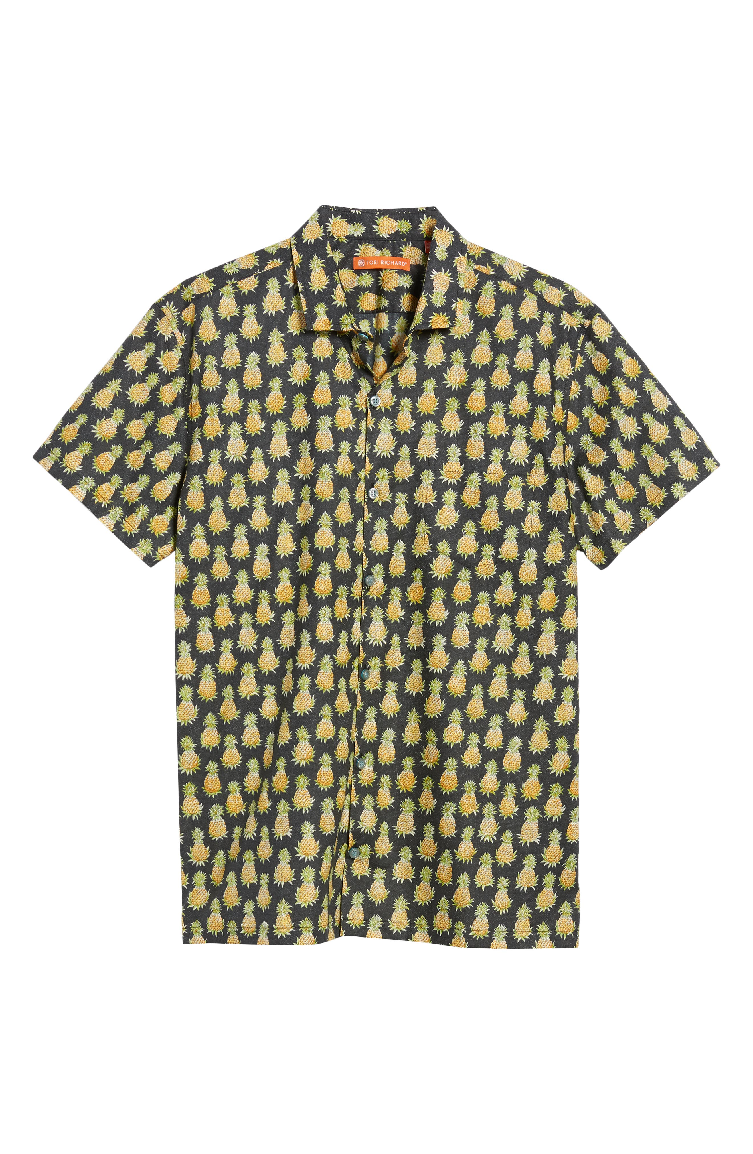 Pineaplism Trim Fit Camp Shirt,                             Alternate thumbnail 6, color,                             BLACK