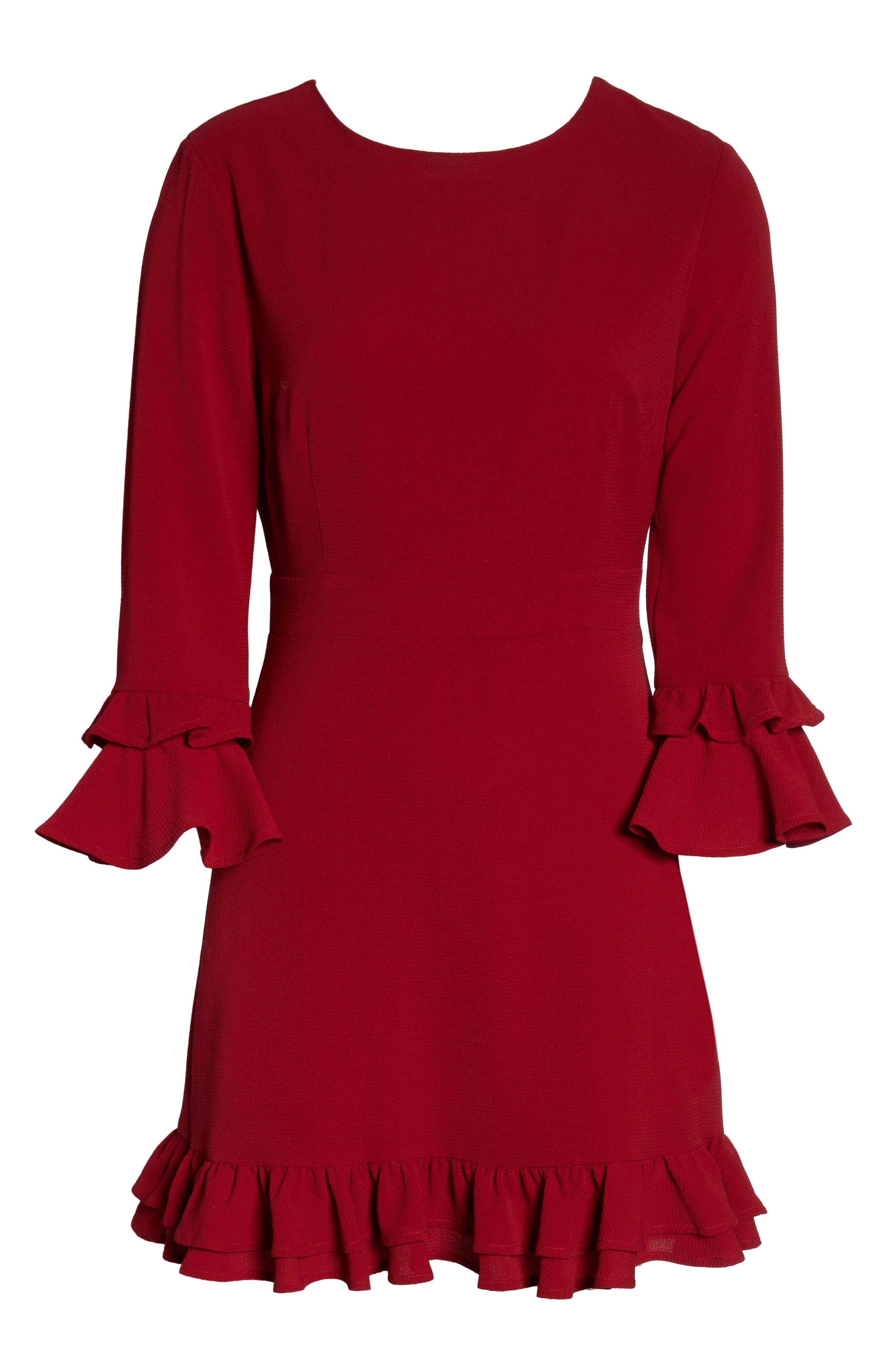 Tiered Ruffle Trim Crepe Dress,                             Alternate thumbnail 7, color,                             ROUGE