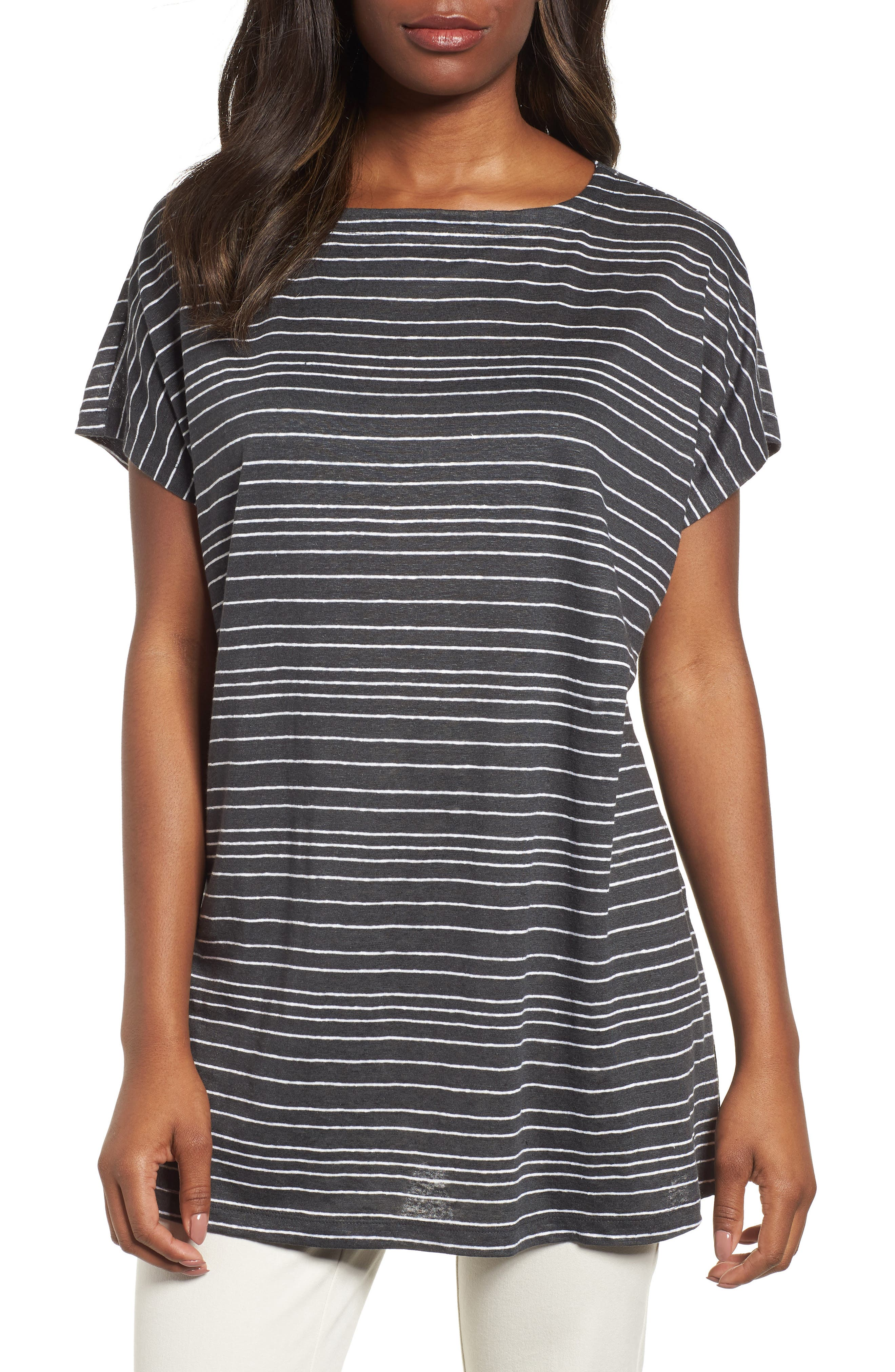 Stripe Organic Linen Tunic,                         Main,                         color, 025