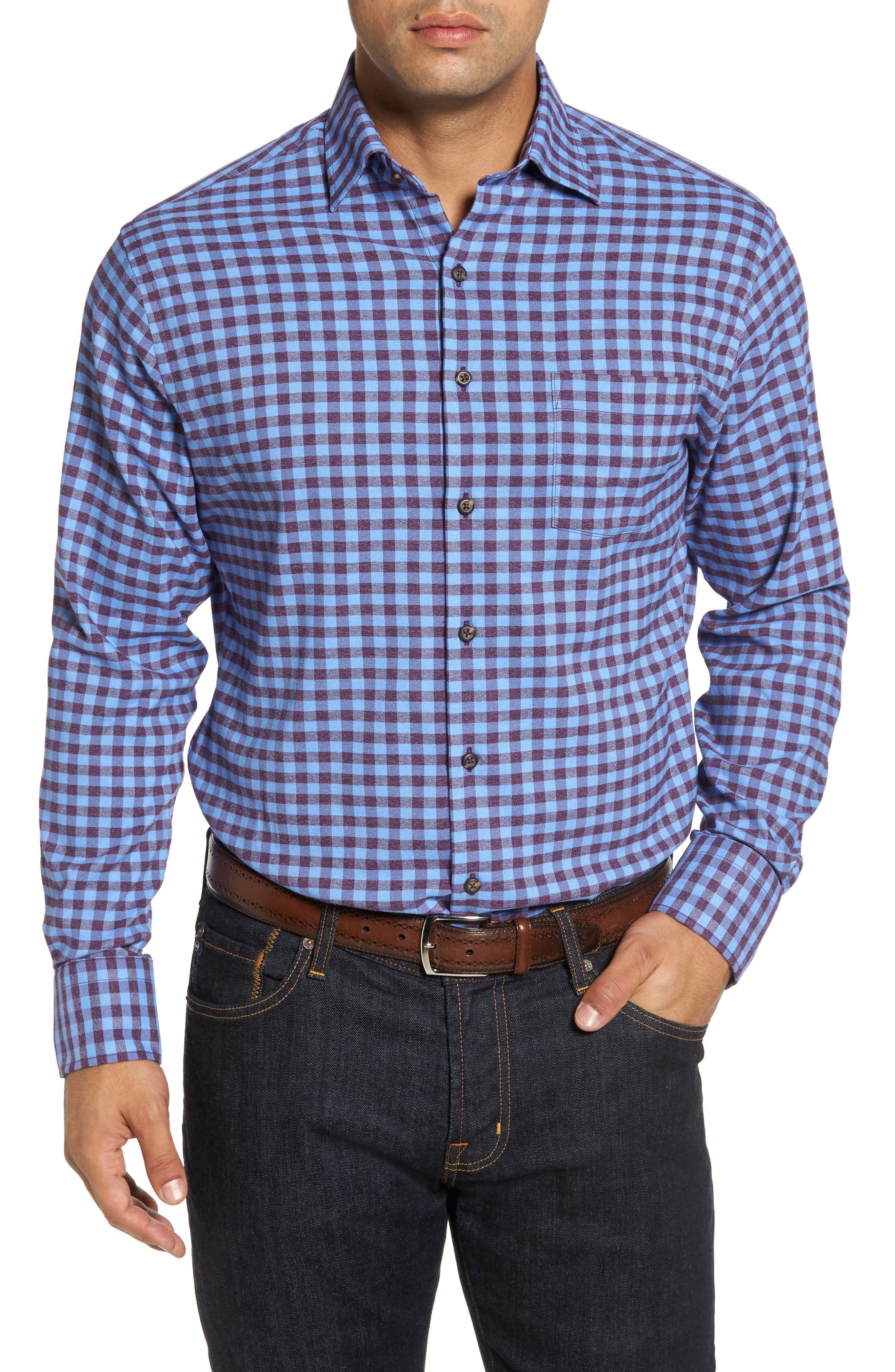 Vedder Gingham Regular Fit Performance Sport Shirt,                             Main thumbnail 3, color,