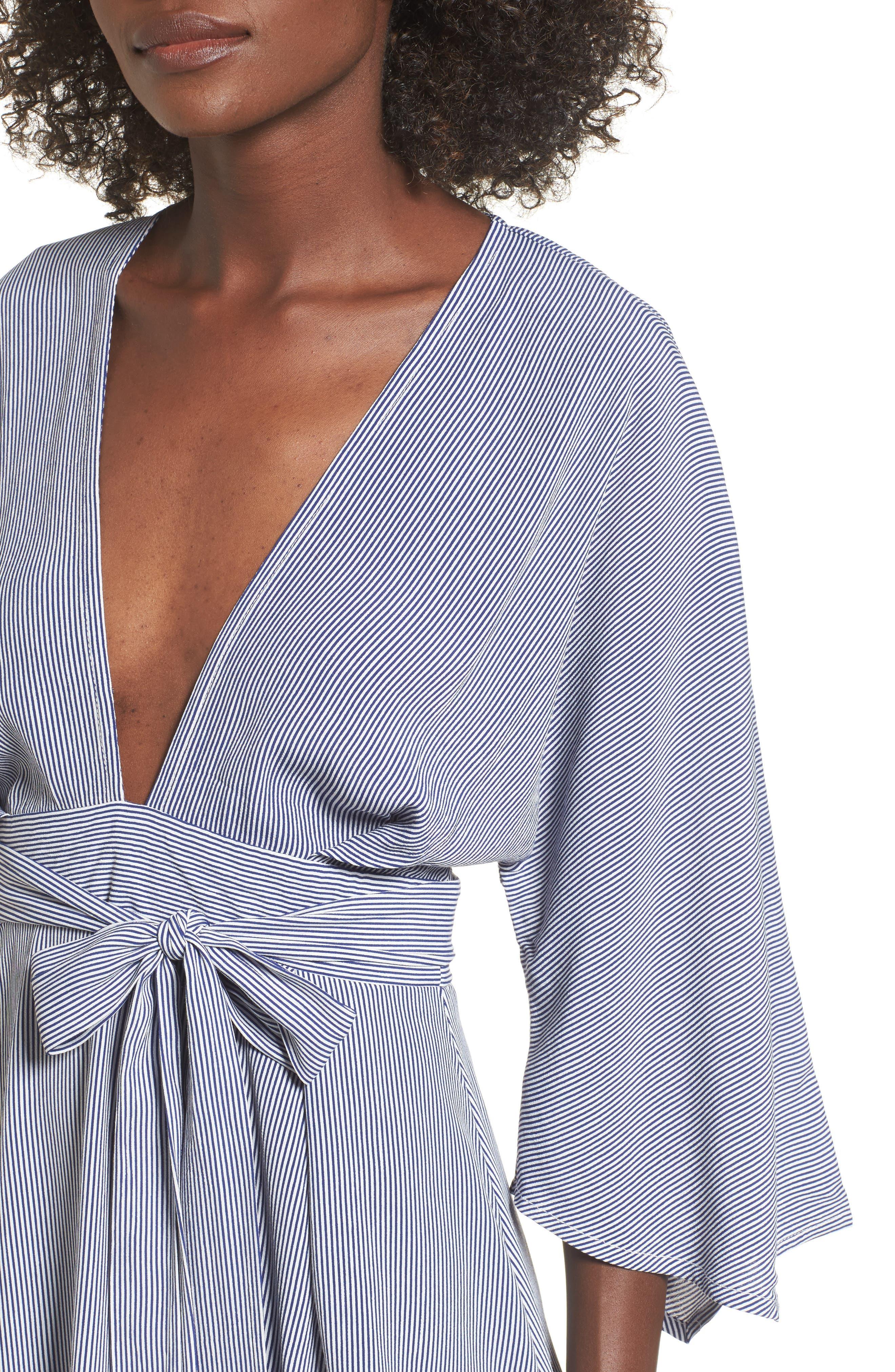 Nova Stripe Lace-Up Shirtdress,                             Alternate thumbnail 4, color,                             400