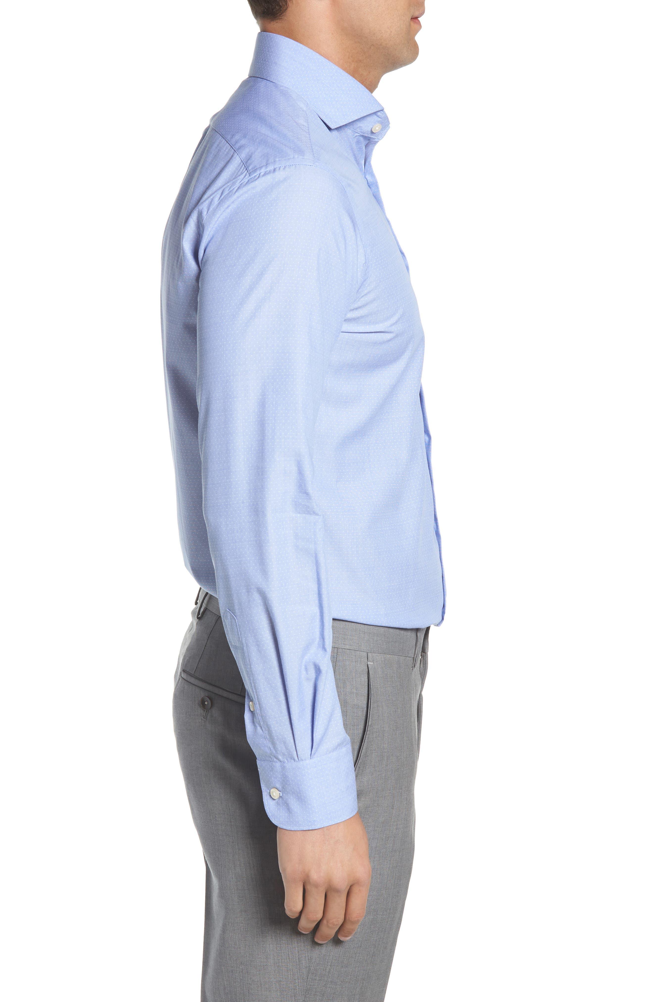 Regular Fit Solid Dress Shirt,                             Alternate thumbnail 4, color,                             BLUE