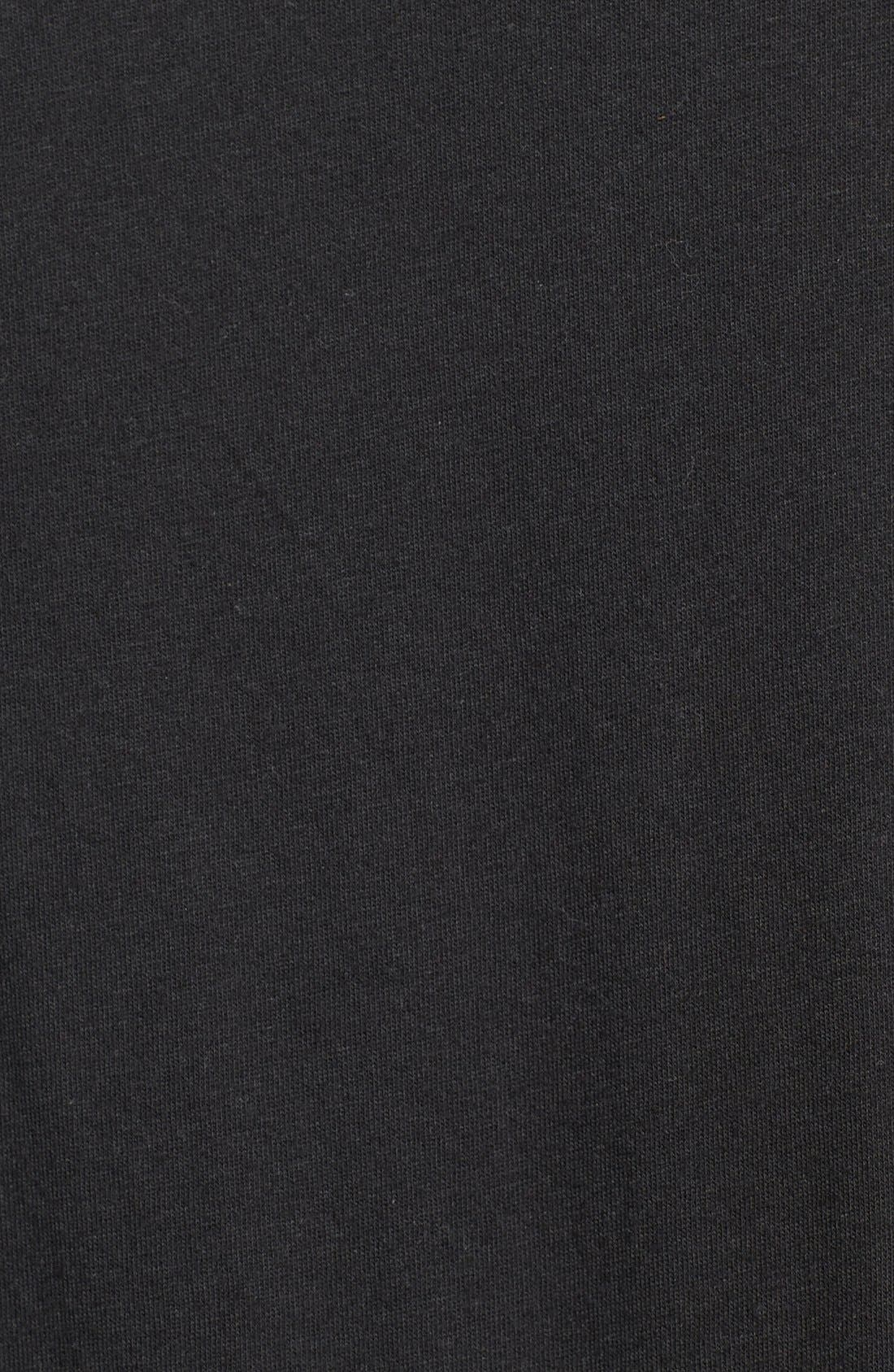 Short Sleeve V-Neck T-Shirt,                             Alternate thumbnail 3, color,                             BLACK