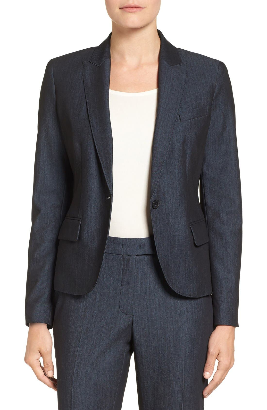 Twill One-Button Jacket,                         Main,                         color, INDIGO TWILL