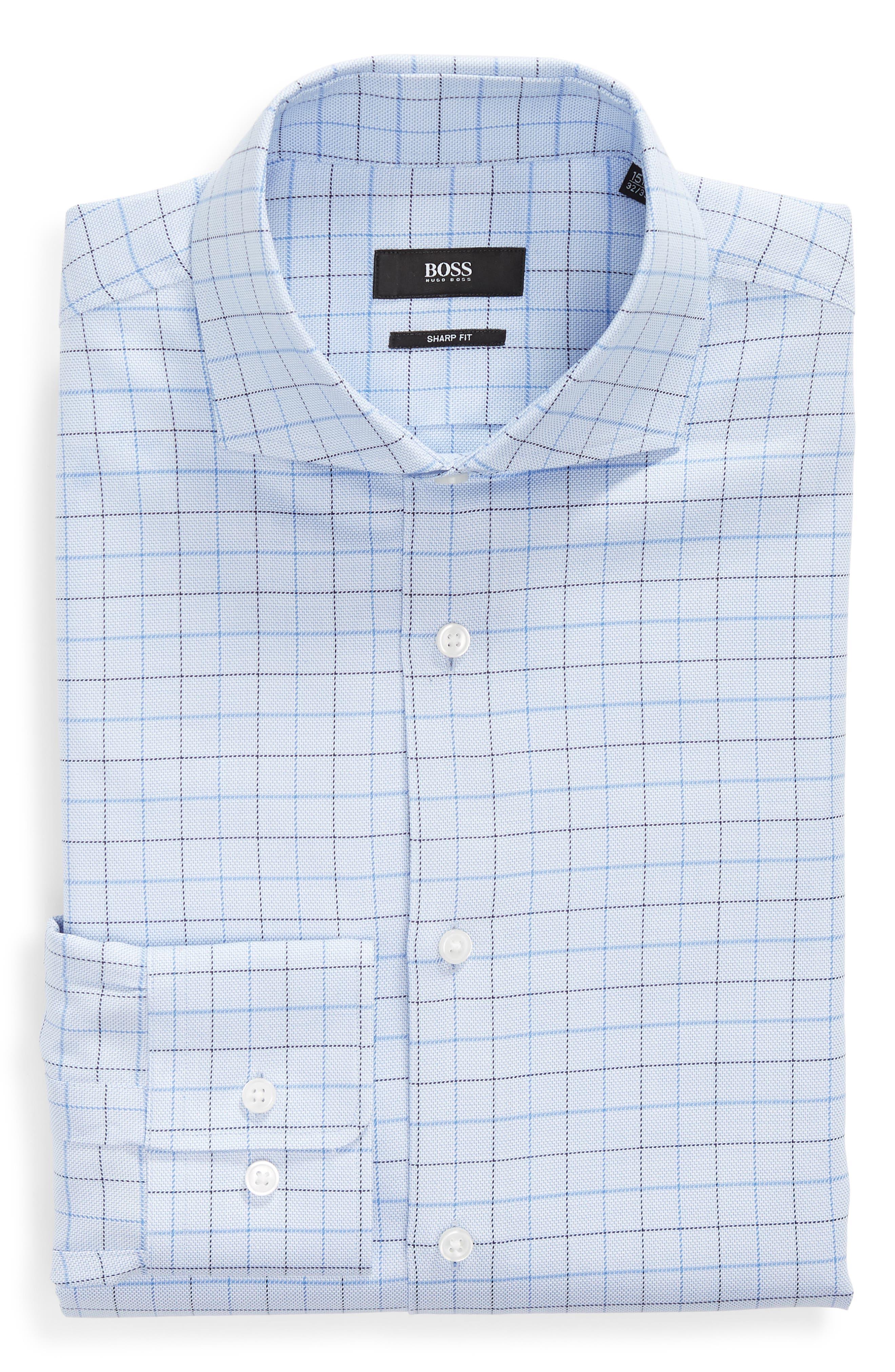 Mark Sharp Fit Check Dress Shirt,                             Alternate thumbnail 5, color,                             LIGHT BLUE