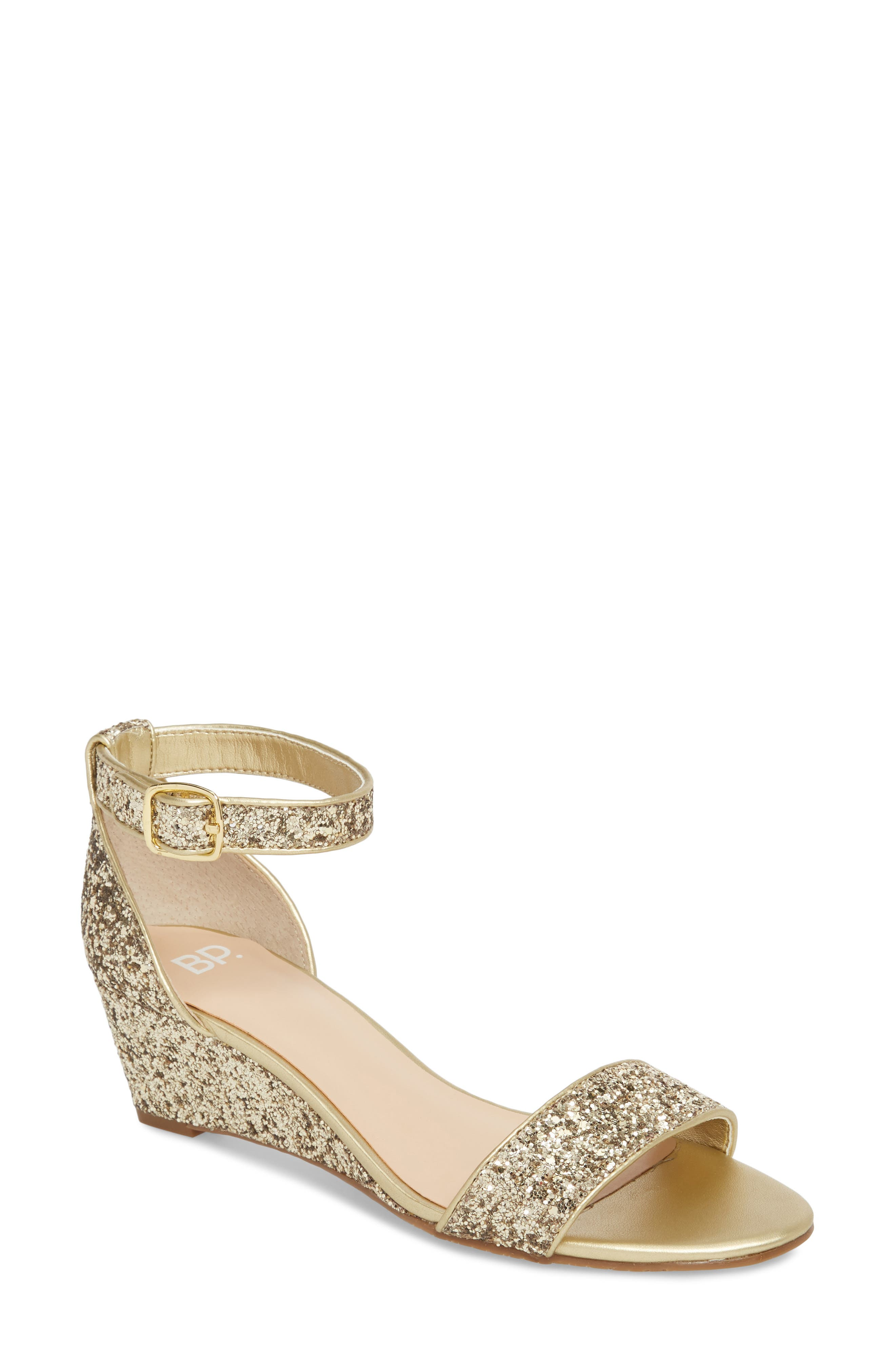 'Roxie' Wedge Sandal,                             Main thumbnail 1, color,                             GOLD GLITTER