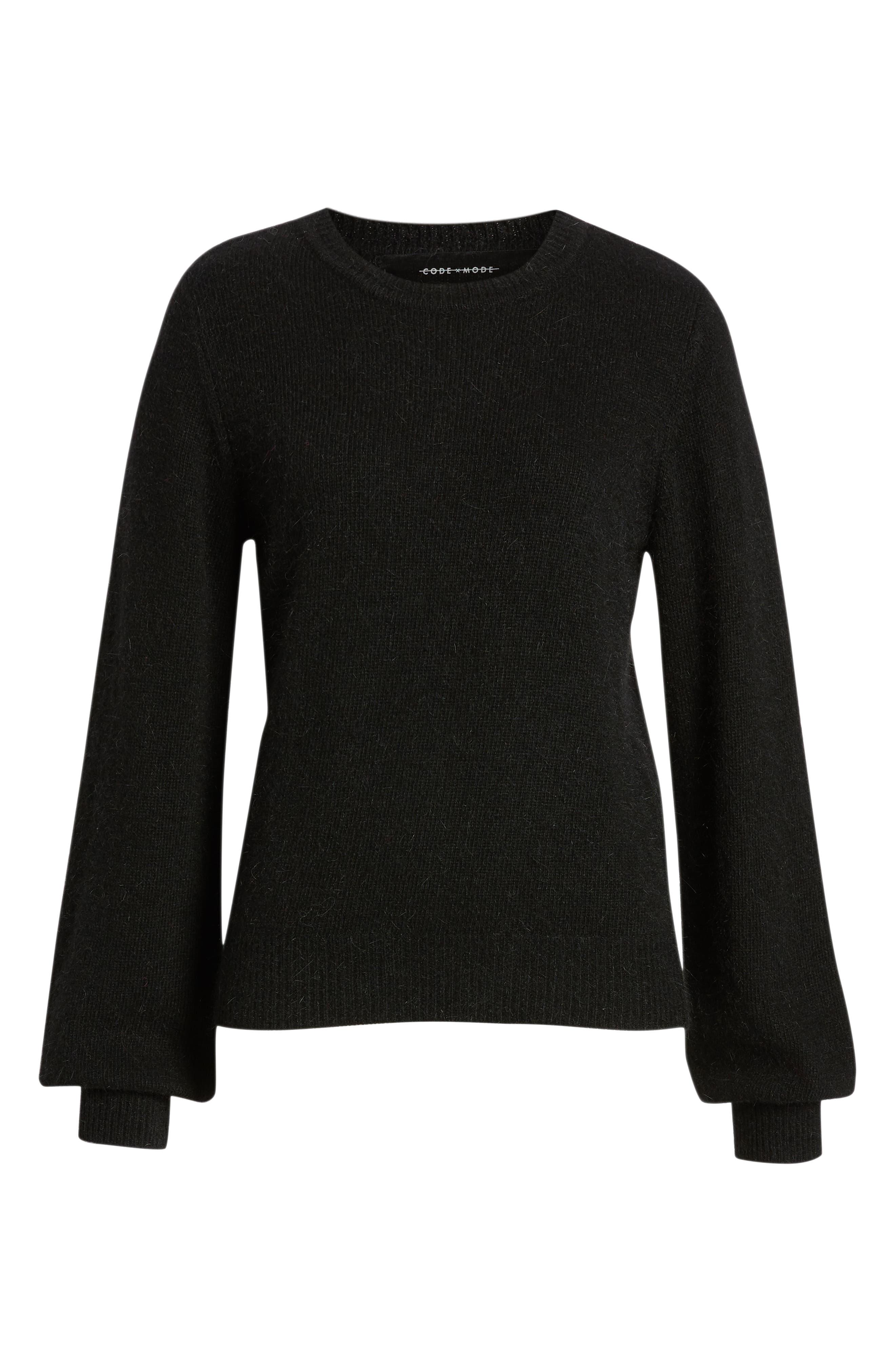 Blouson Sleeve Sweater,                             Alternate thumbnail 6, color,                             BLACK