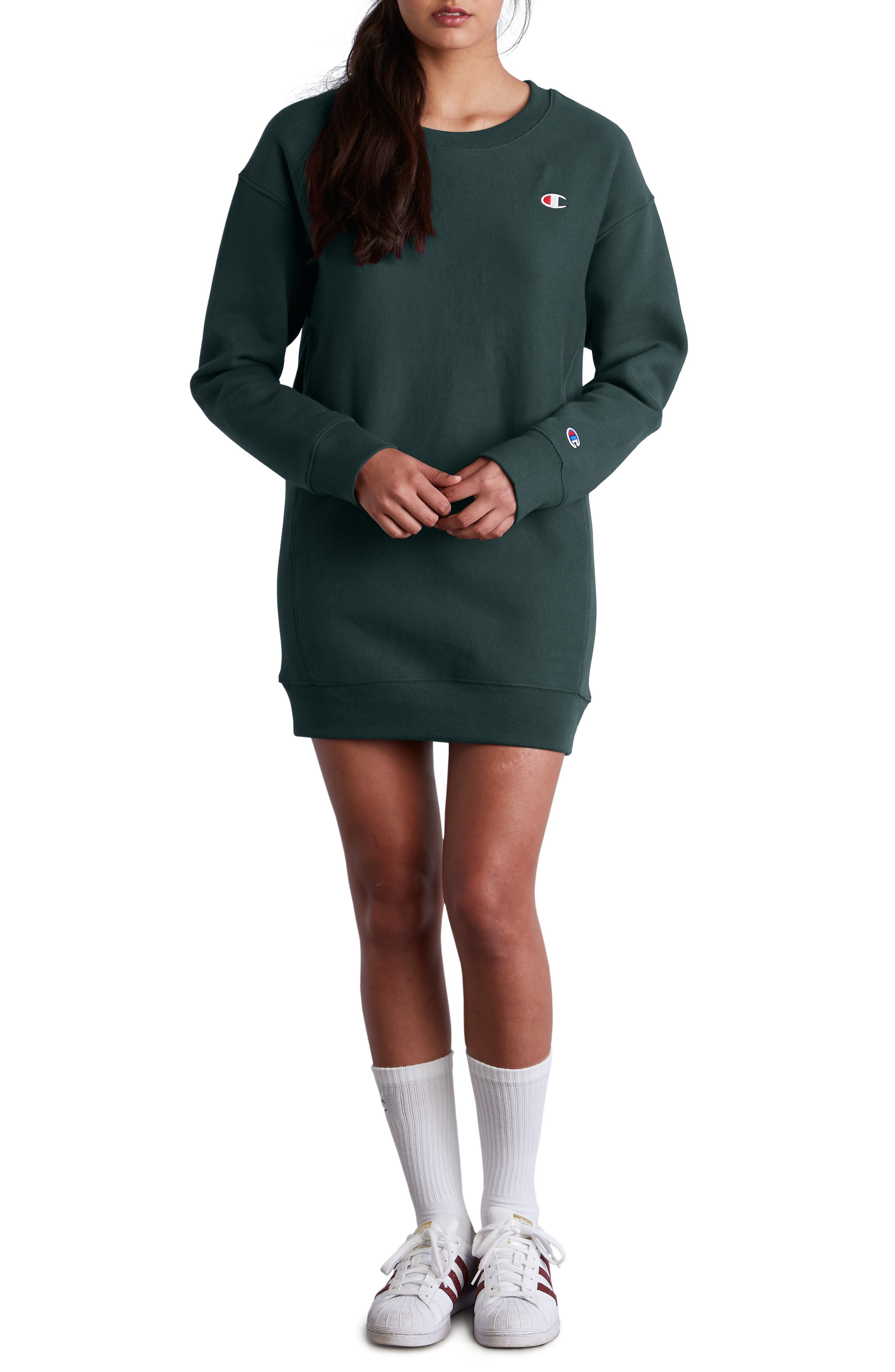 Reverse Weave<sup>®</sup> Sweatshirt Dress,                         Main,                         color, LAKESIDE GREEN