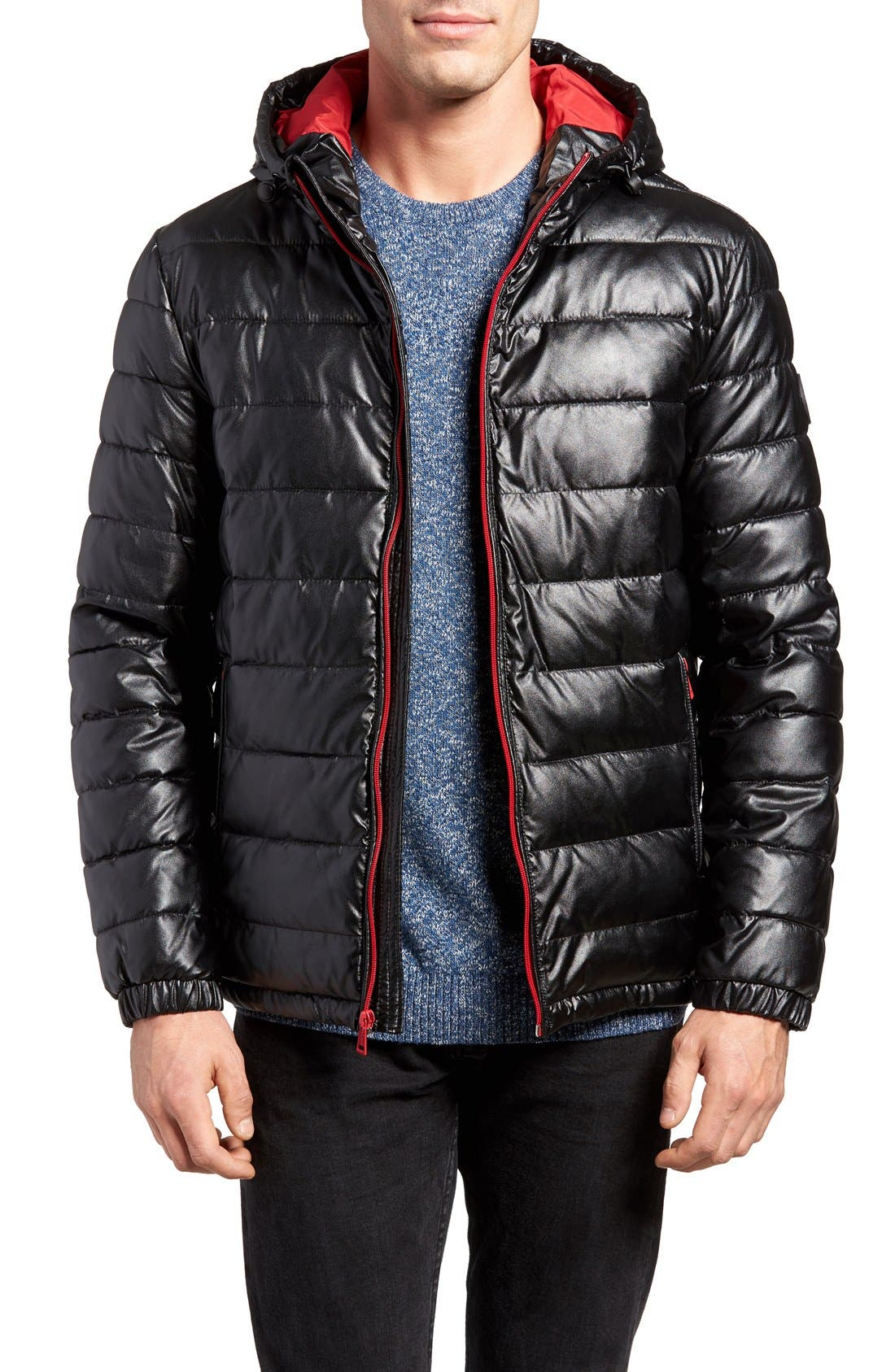 Quilted Faux Leather Hooded Puffer Jacket,                             Main thumbnail 1, color,                             BLACK/ RED