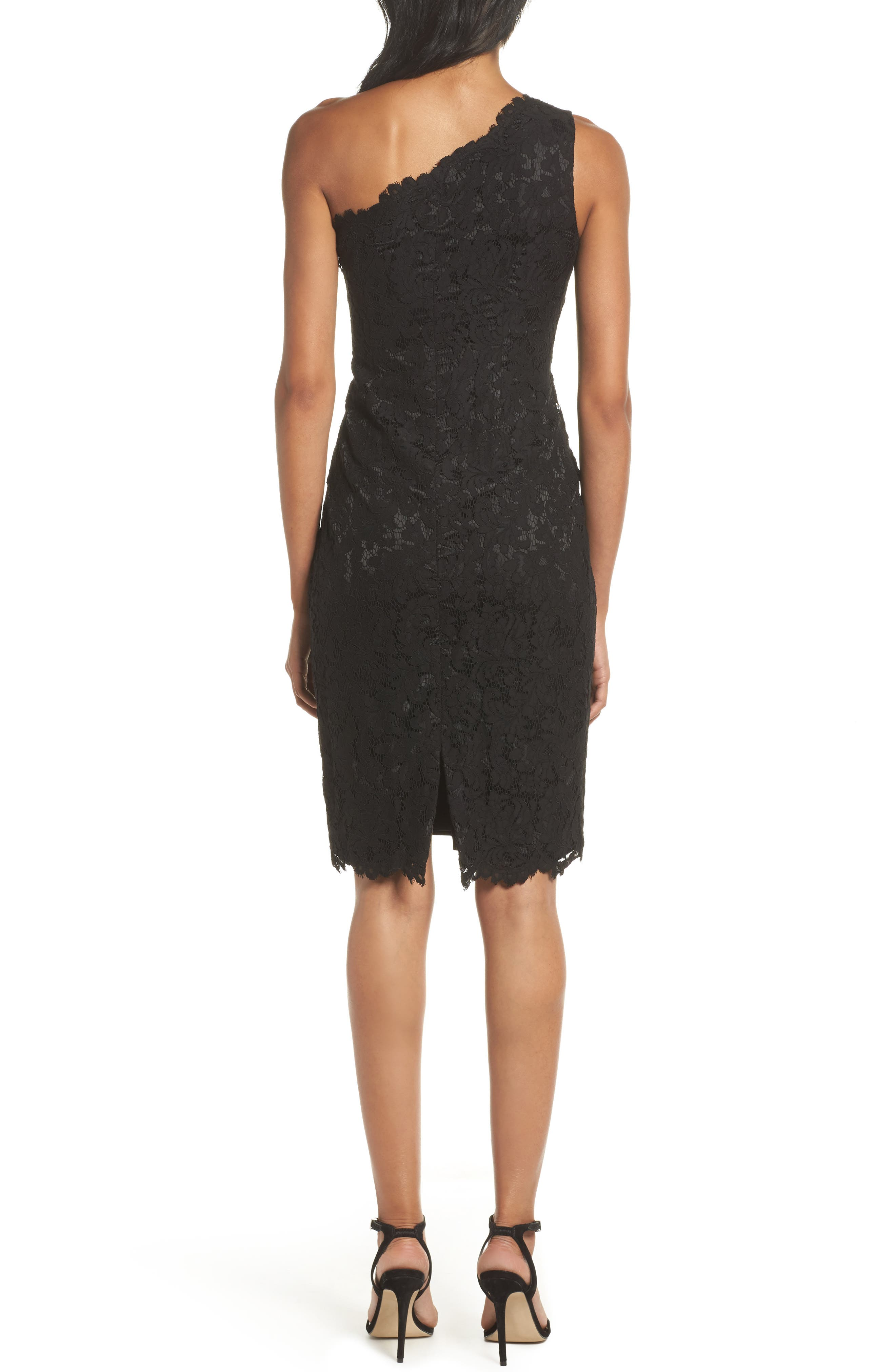 One-Shoulder Lace Sheath Dress,                             Alternate thumbnail 2, color,                             001