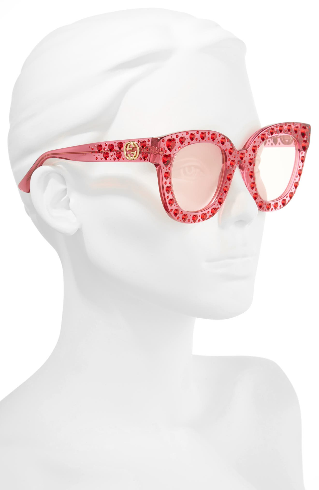 49mm Crystal Heart Sunglasses,                             Alternate thumbnail 2, color,                             FUCHSIA