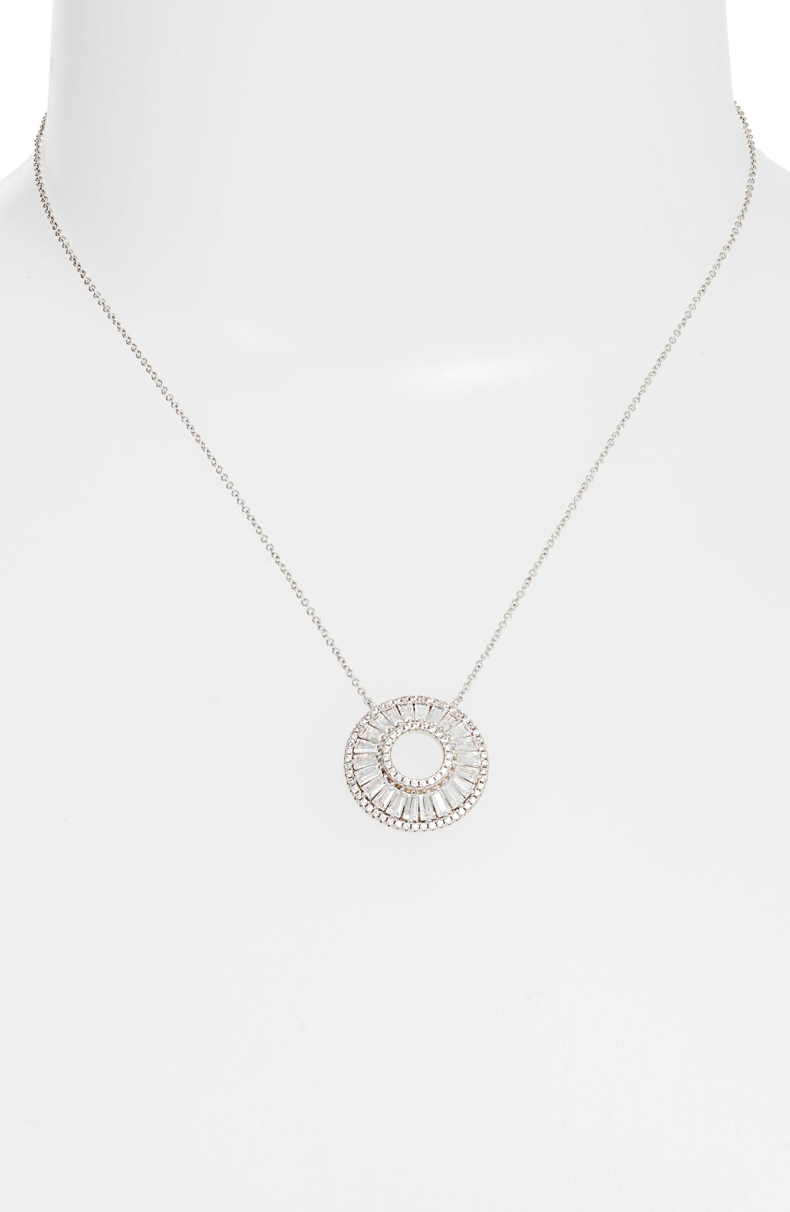 Baguette Cubic Zirconia Circle Pendant Necklace,                             Alternate thumbnail 2, color,                             040