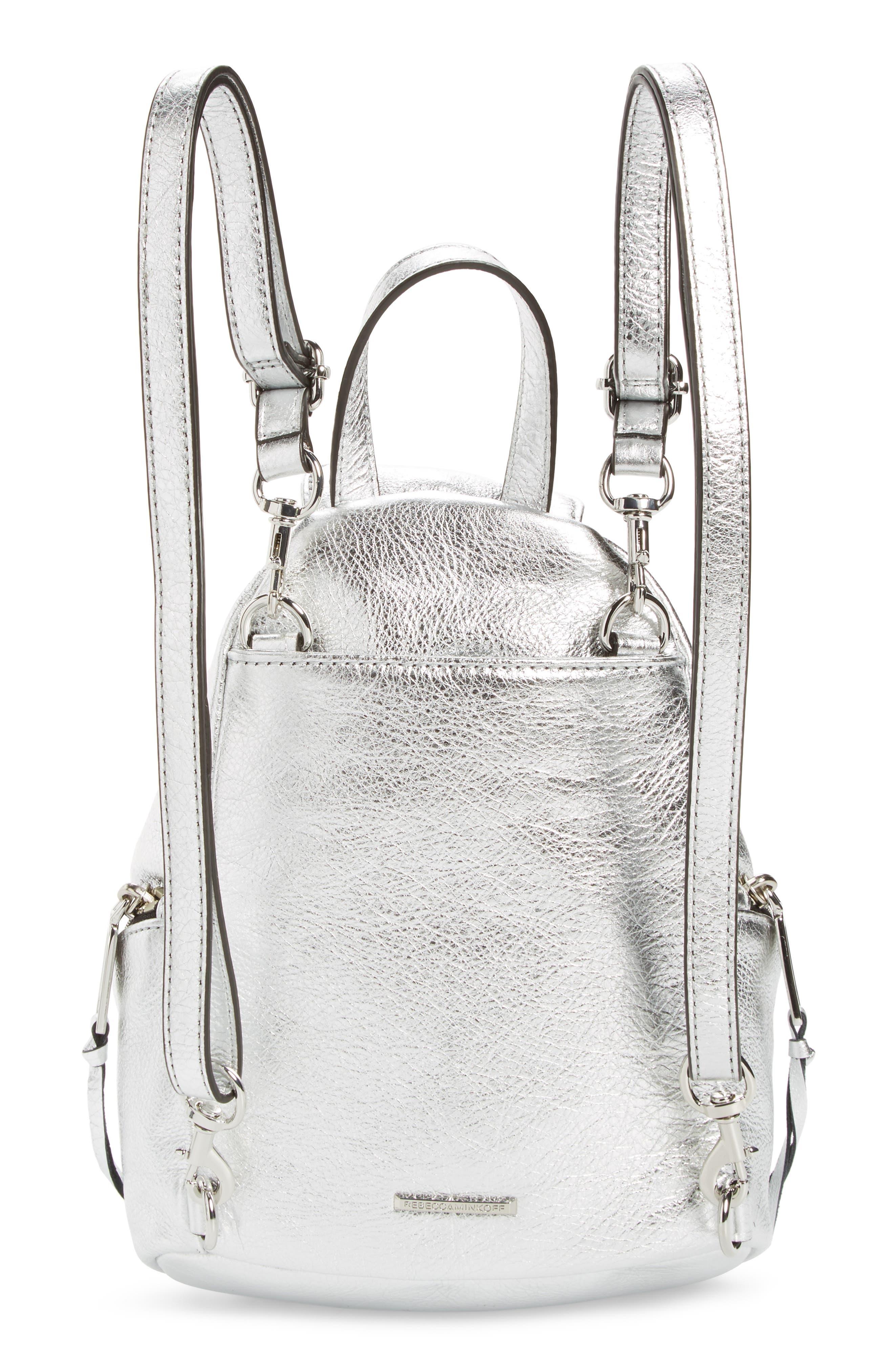 Mini Julian Metallic Leather Backpack,                             Alternate thumbnail 3, color,                             040