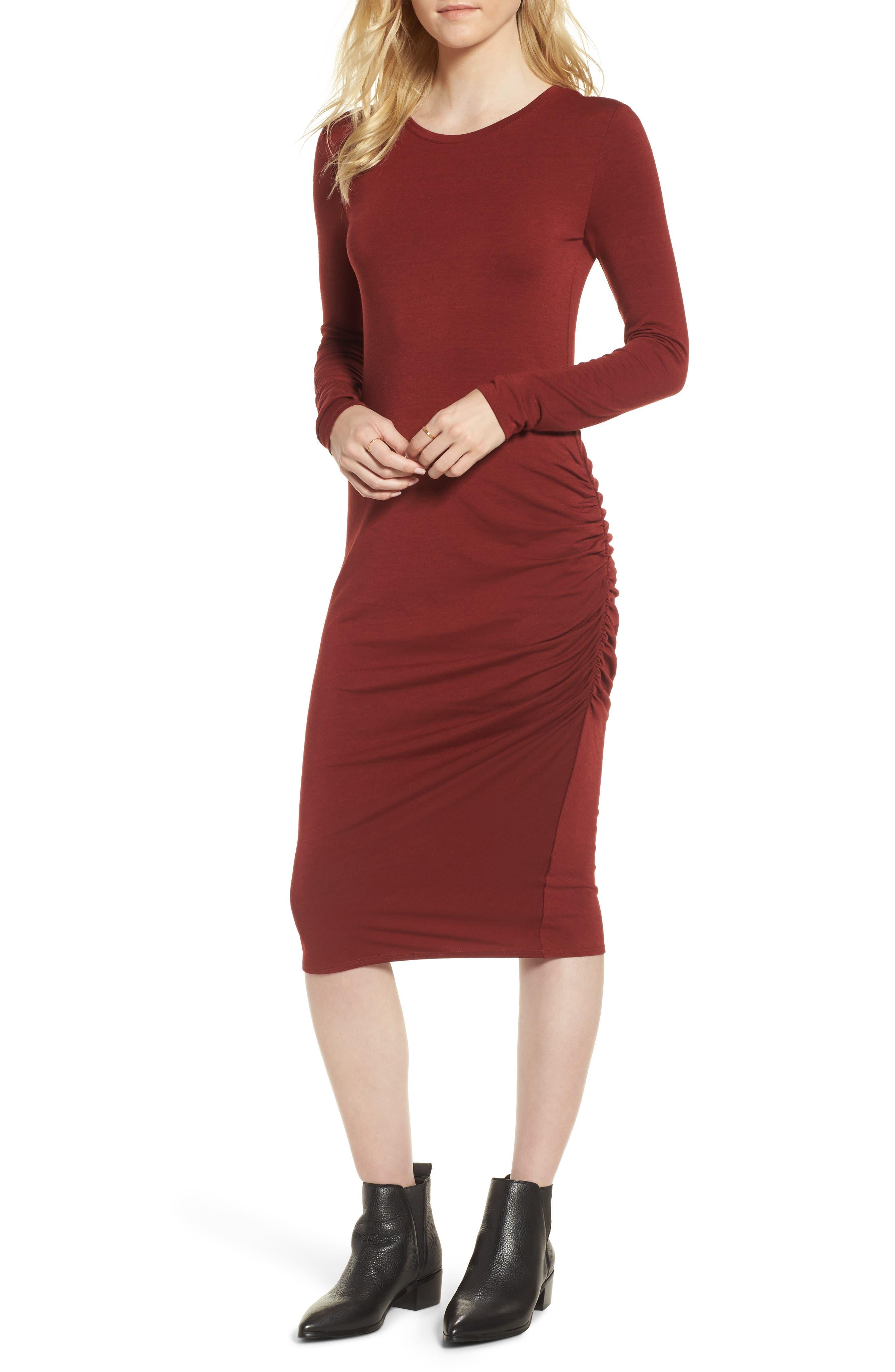 Side Ruched Knit Sheath Dress,                             Main thumbnail 2, color,