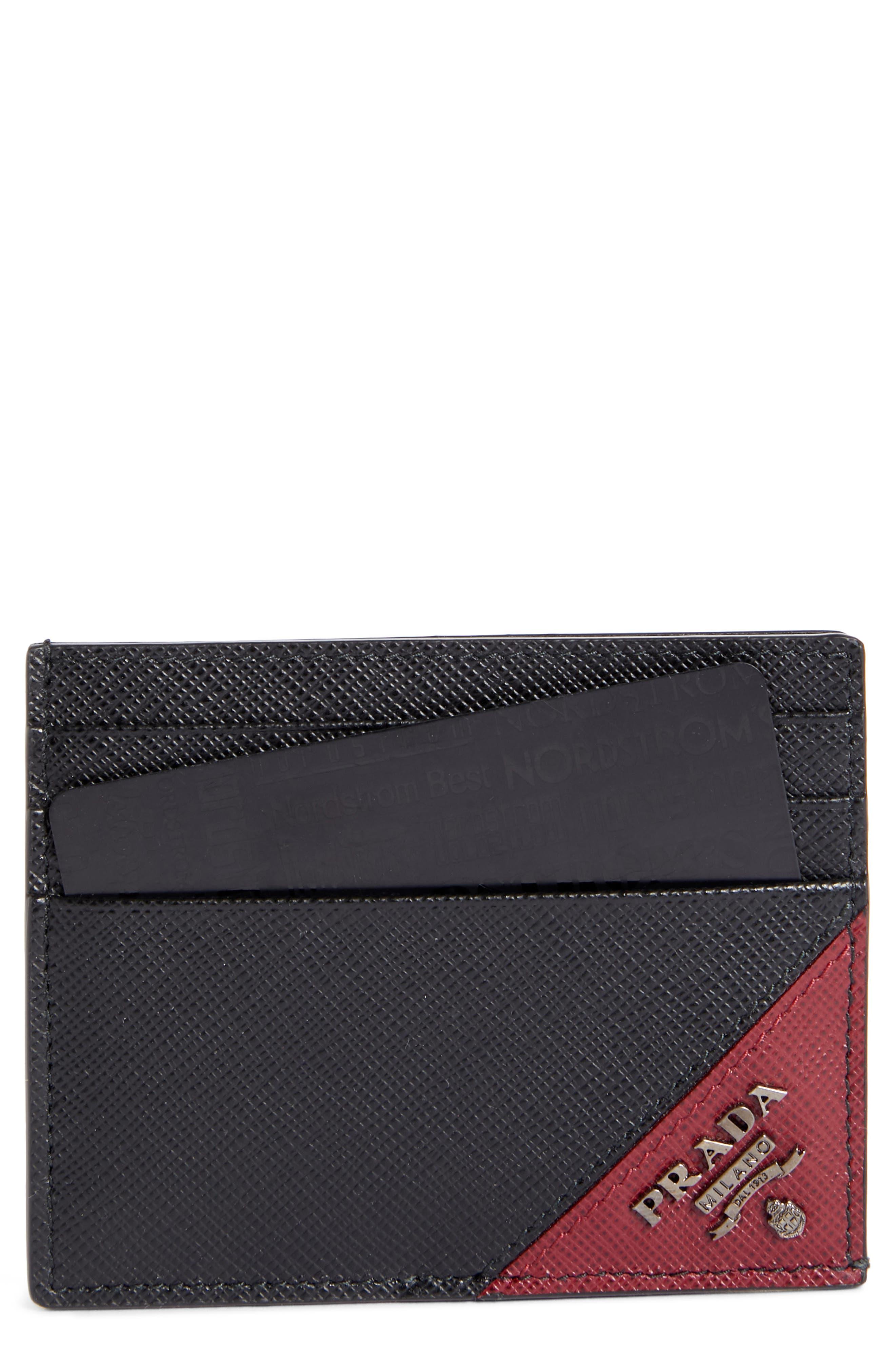 Saffiano Leather Card Case,                         Main,                         color, NERO AND CERISE