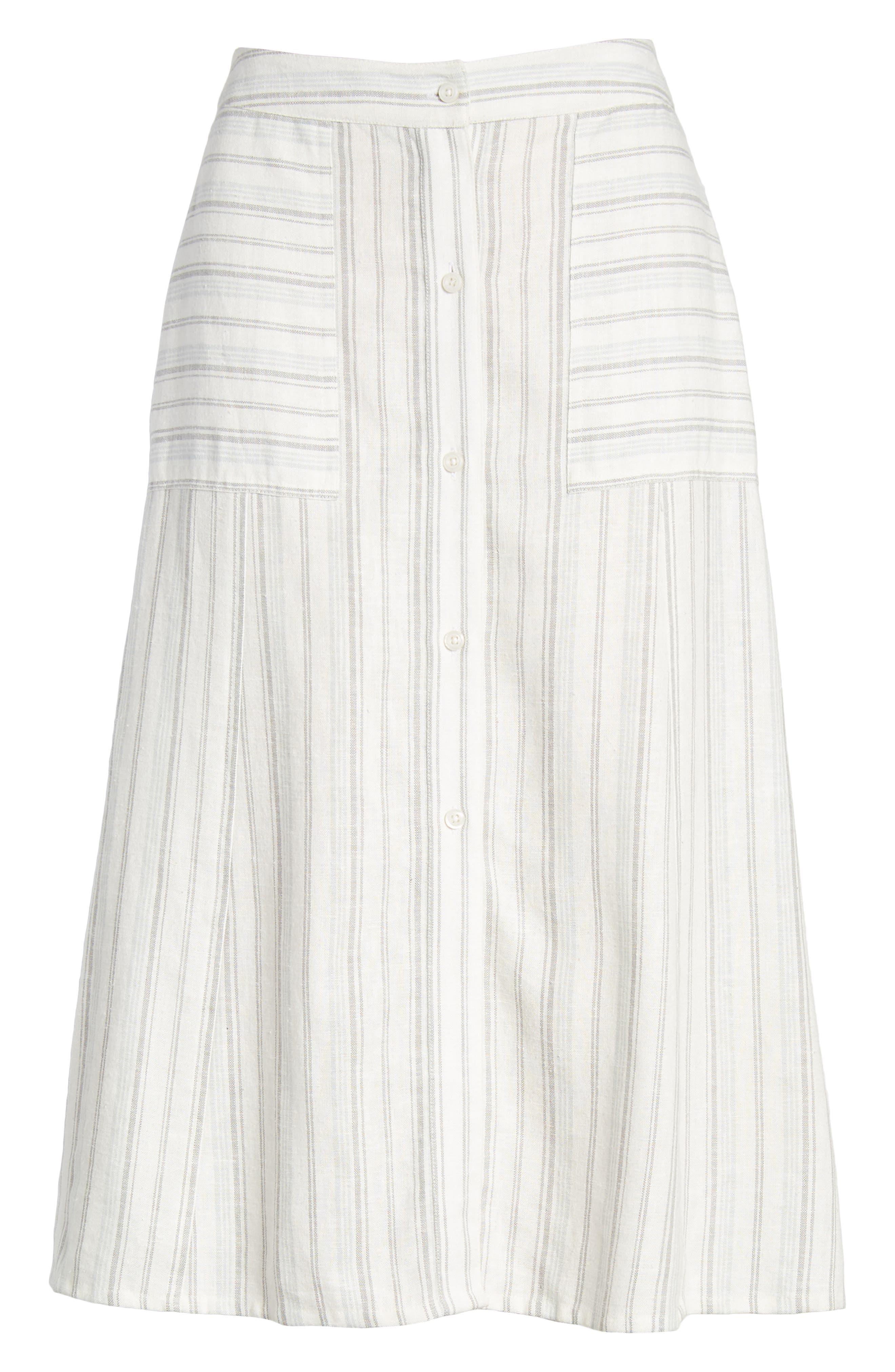 Stripe Linen Blend Midi Skirt,                             Alternate thumbnail 6, color,                             IVORY VERIGATED STRIPE