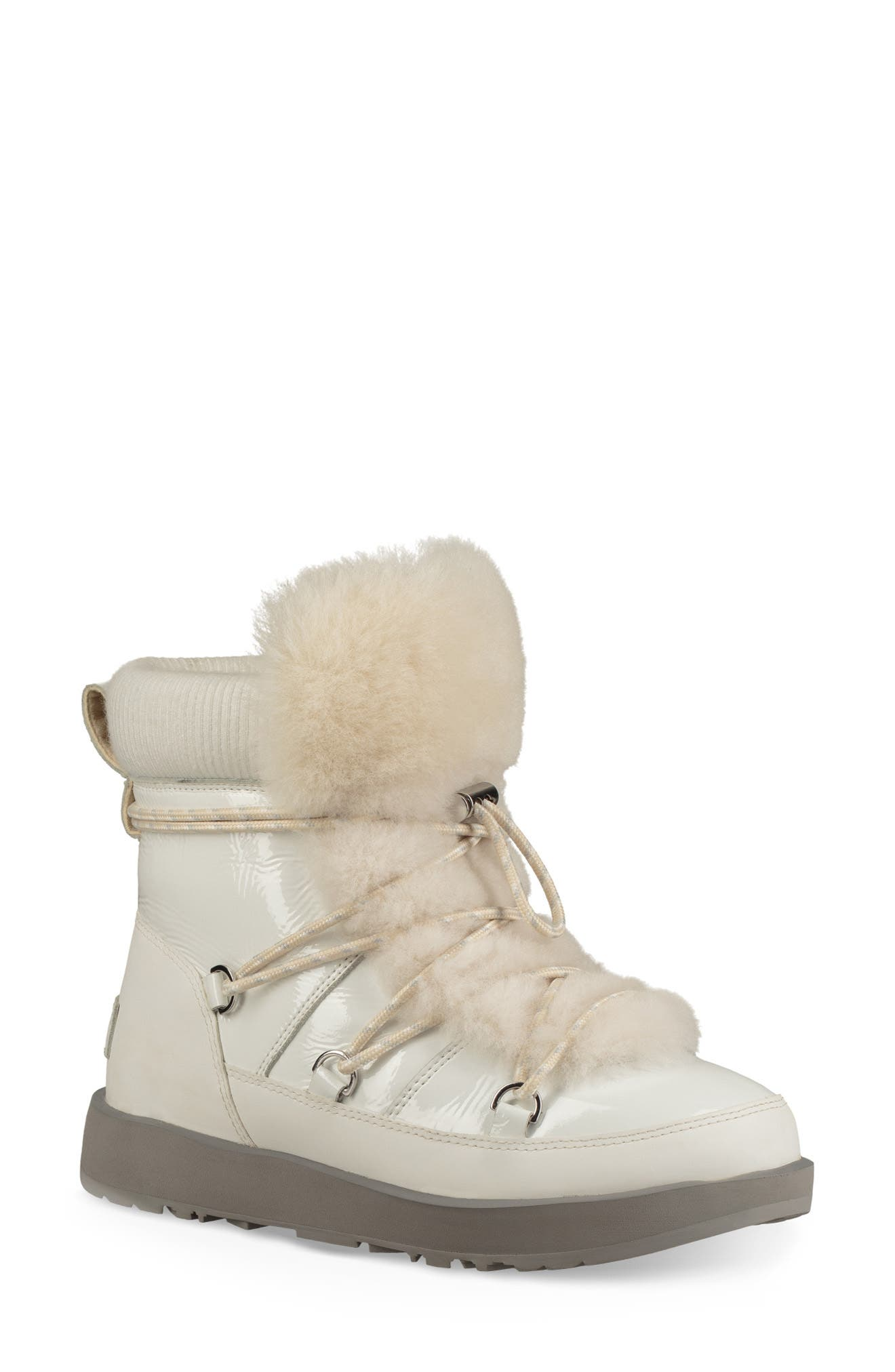 Highland Genuine Shearling Waterproof Bootie,                             Main thumbnail 1, color,                             WHITE LEATHER