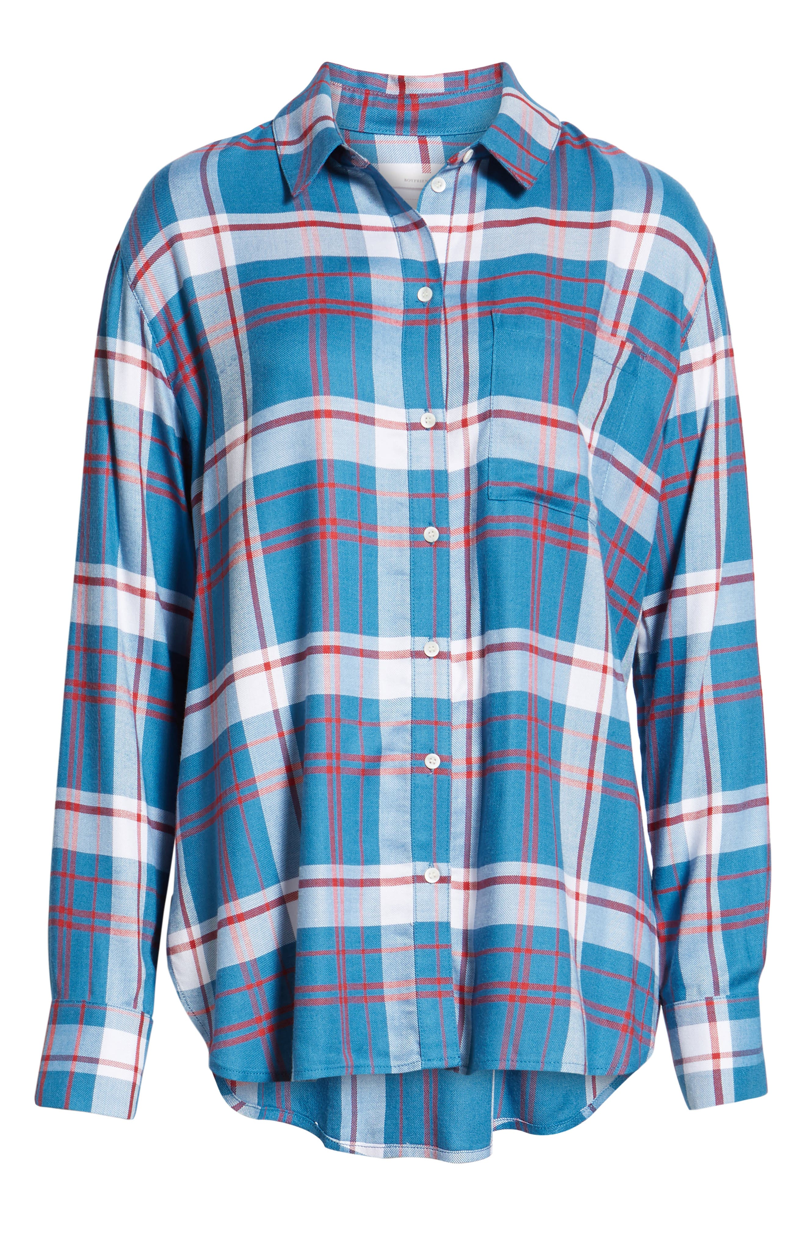Plaid Boyfriend Shirt,                             Alternate thumbnail 6, color,                             BLUE WATER FOREST PLAID