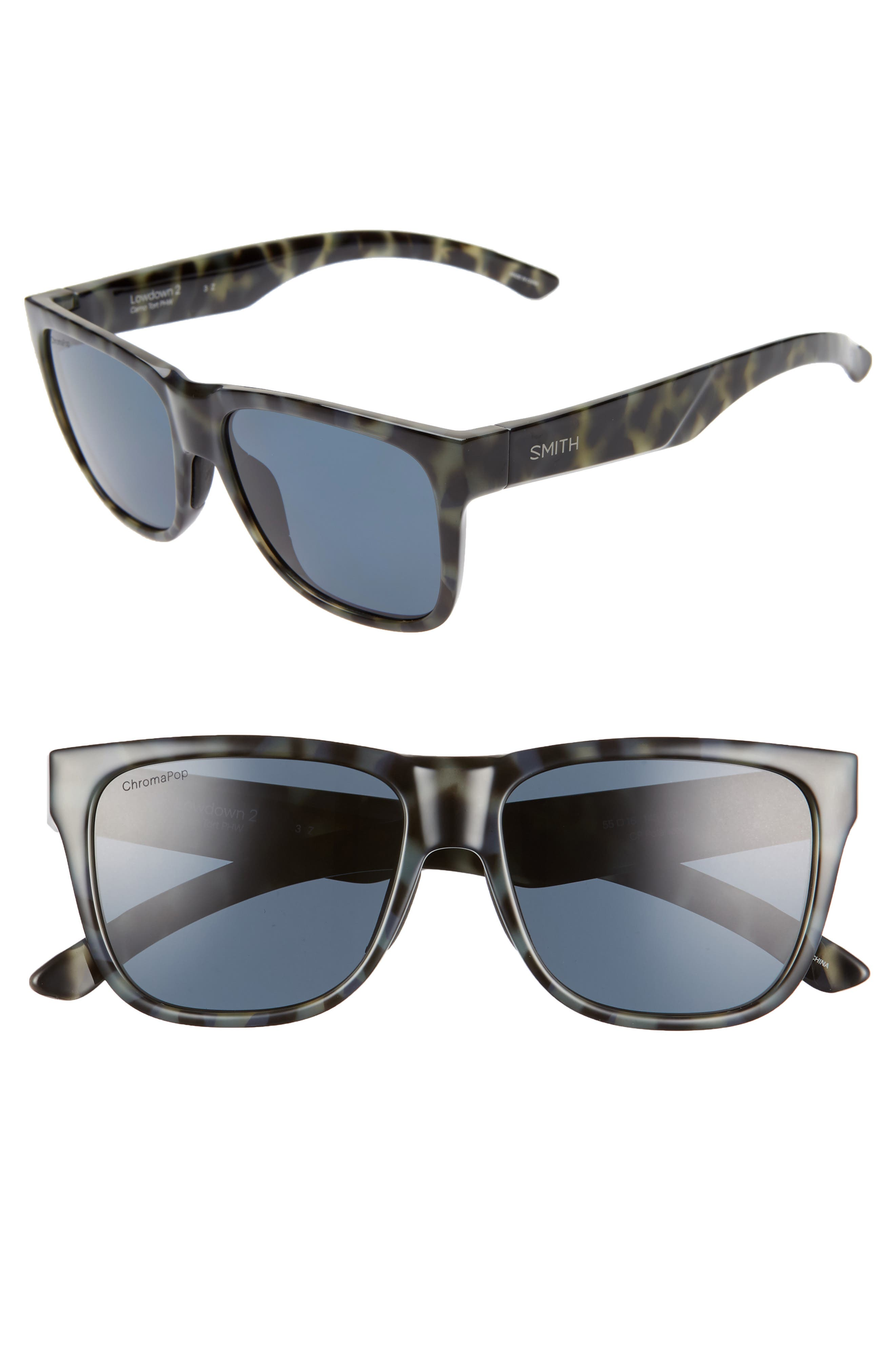 Lowdown 2 55mm ChromaPop<sup>™</sup> Square Sunglasses,                             Main thumbnail 1, color,                             CAMO TORTOISE