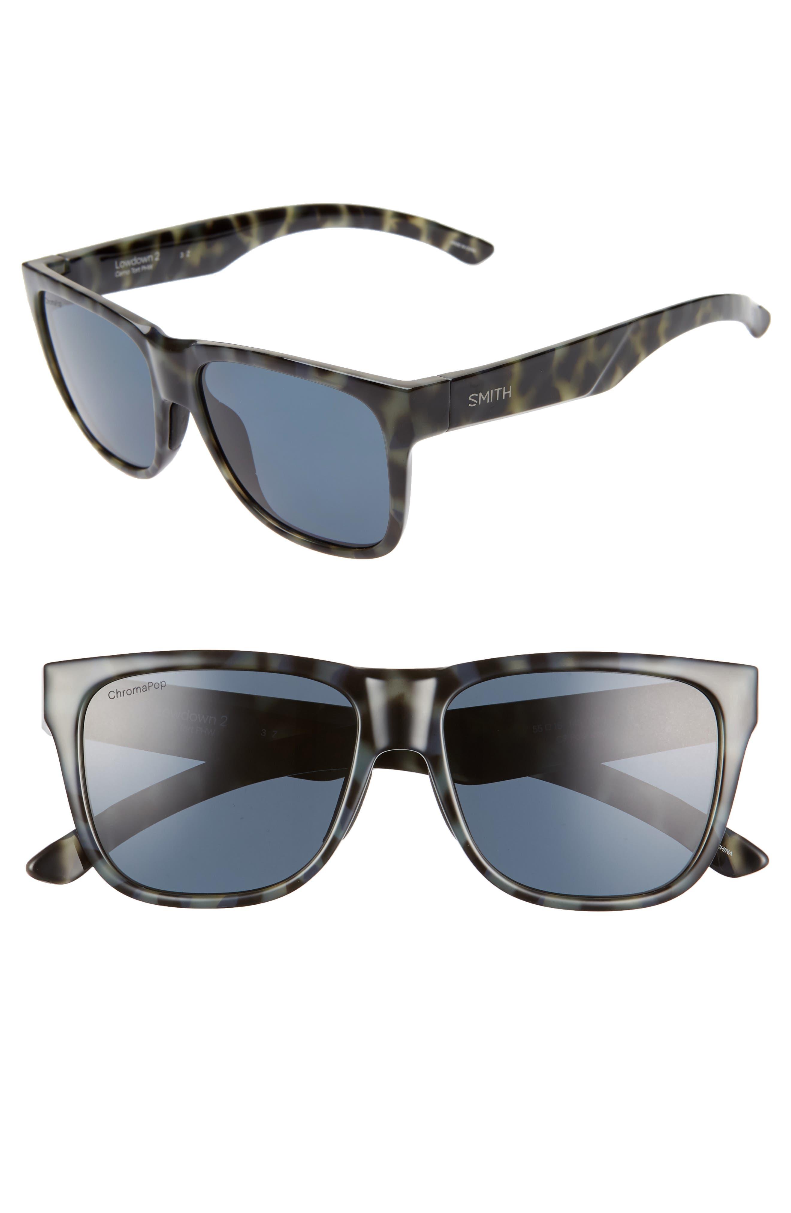 Lowdown 2 55mm ChromaPop<sup>™</sup> Square Sunglasses, Main, color, CAMO TORTOISE