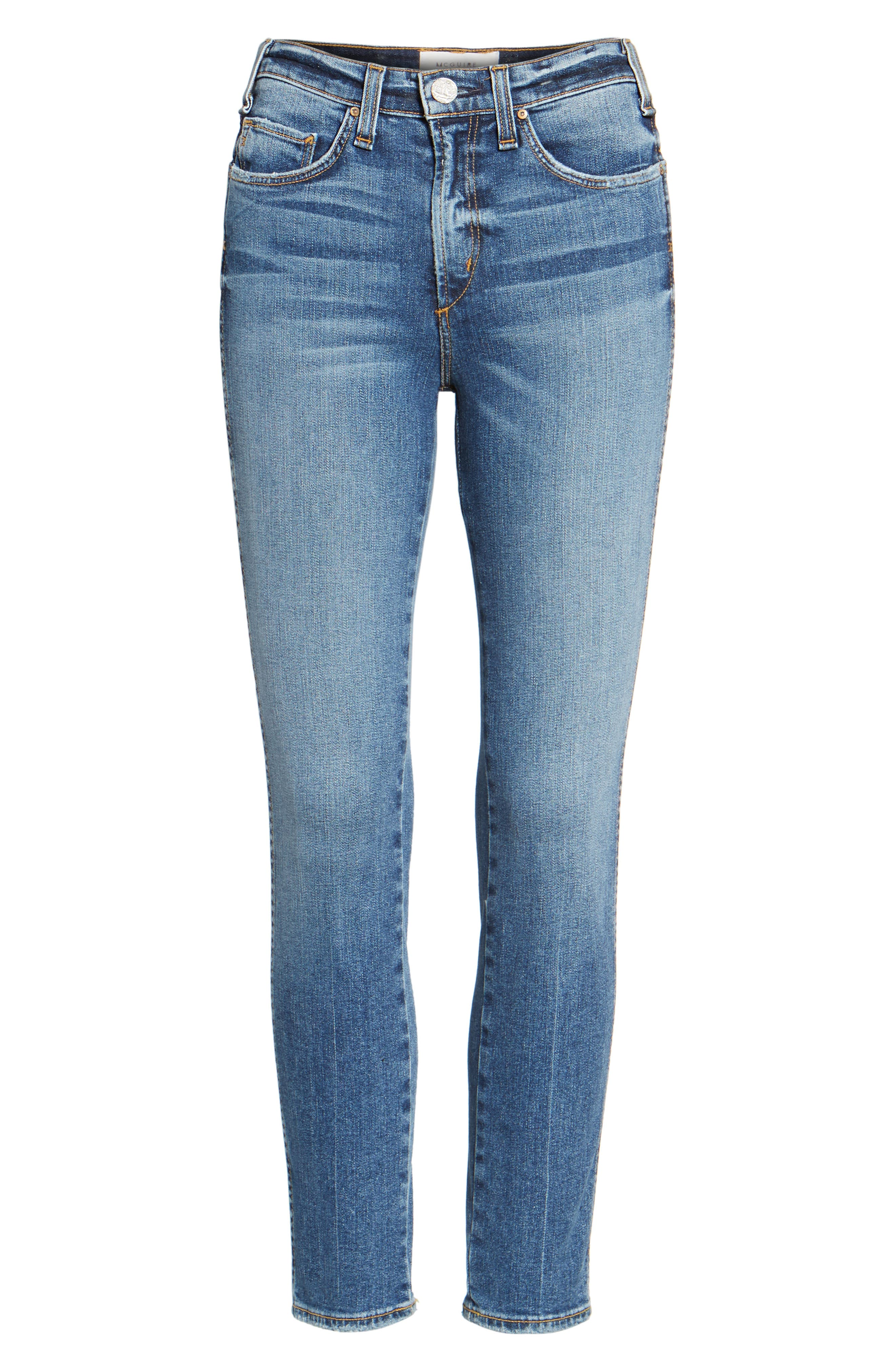 Windsor Destroyed High Waist Straight Leg Jeans,                             Alternate thumbnail 6, color,                             430